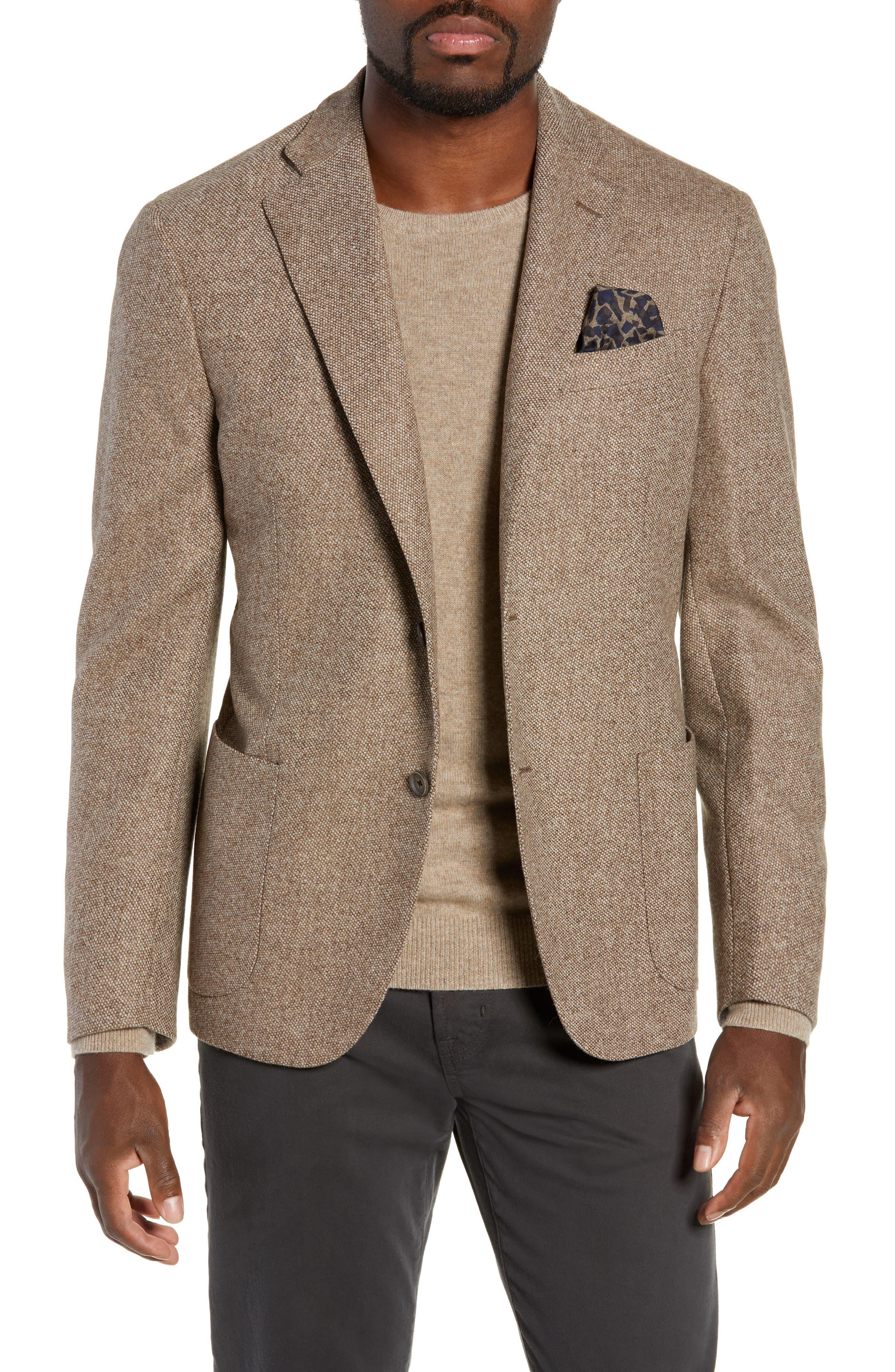 CULTURATA Trim Fit Wool & Cashmere Sport Coat in Beige / Khaki
