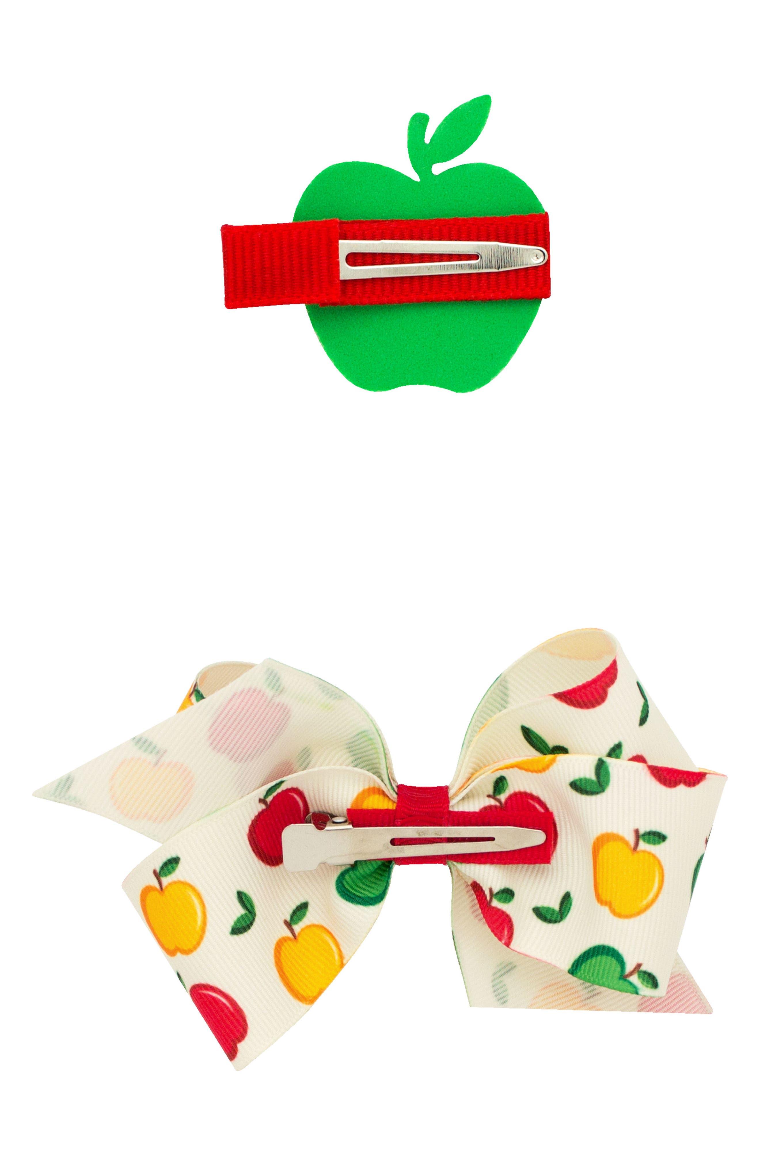 Small Bow & Apple Hair Clips,                             Alternate thumbnail 2, color,                             APPLE