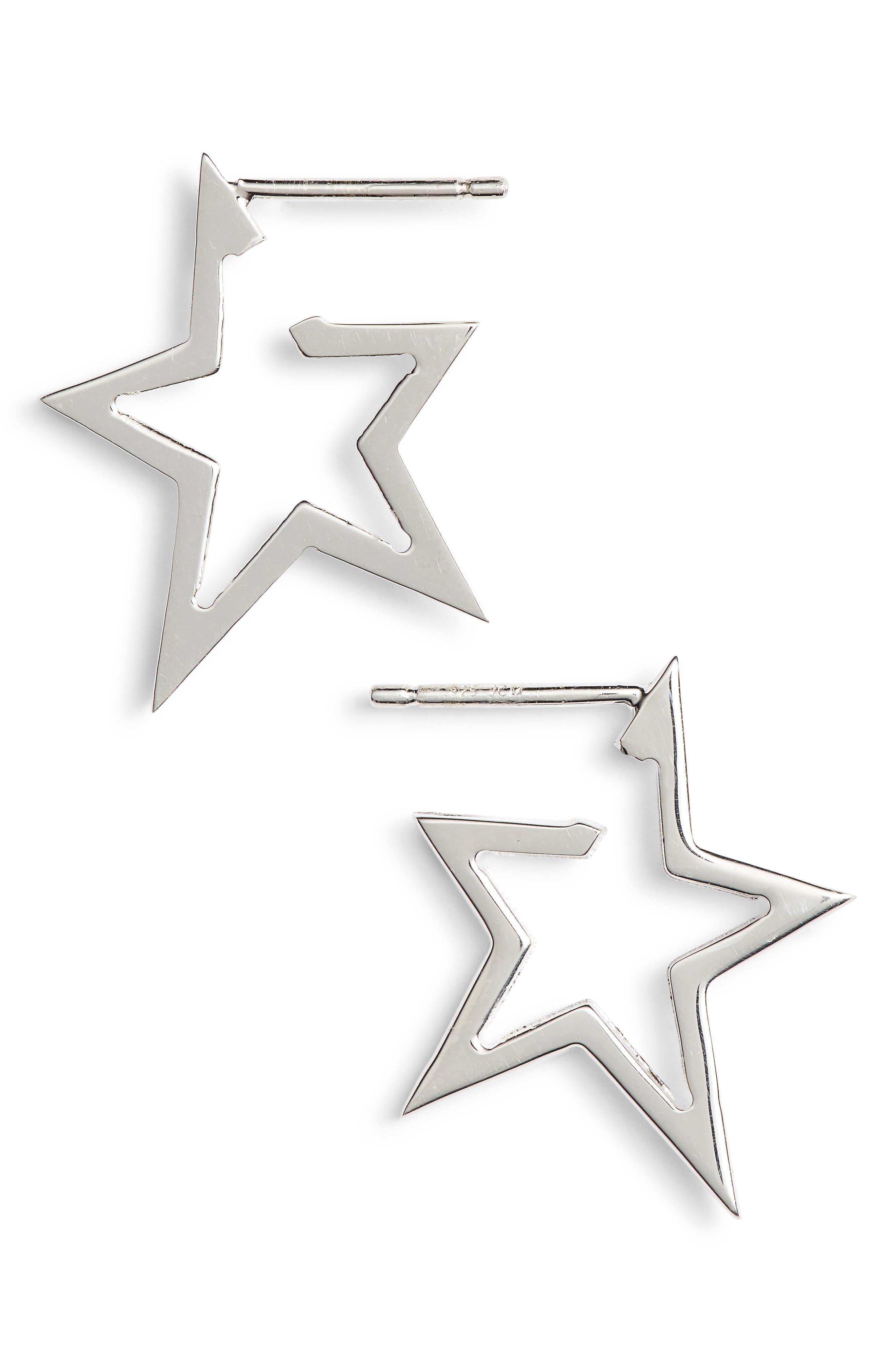 Sade Star Huggies,                         Main,                         color, STERLING SILVER