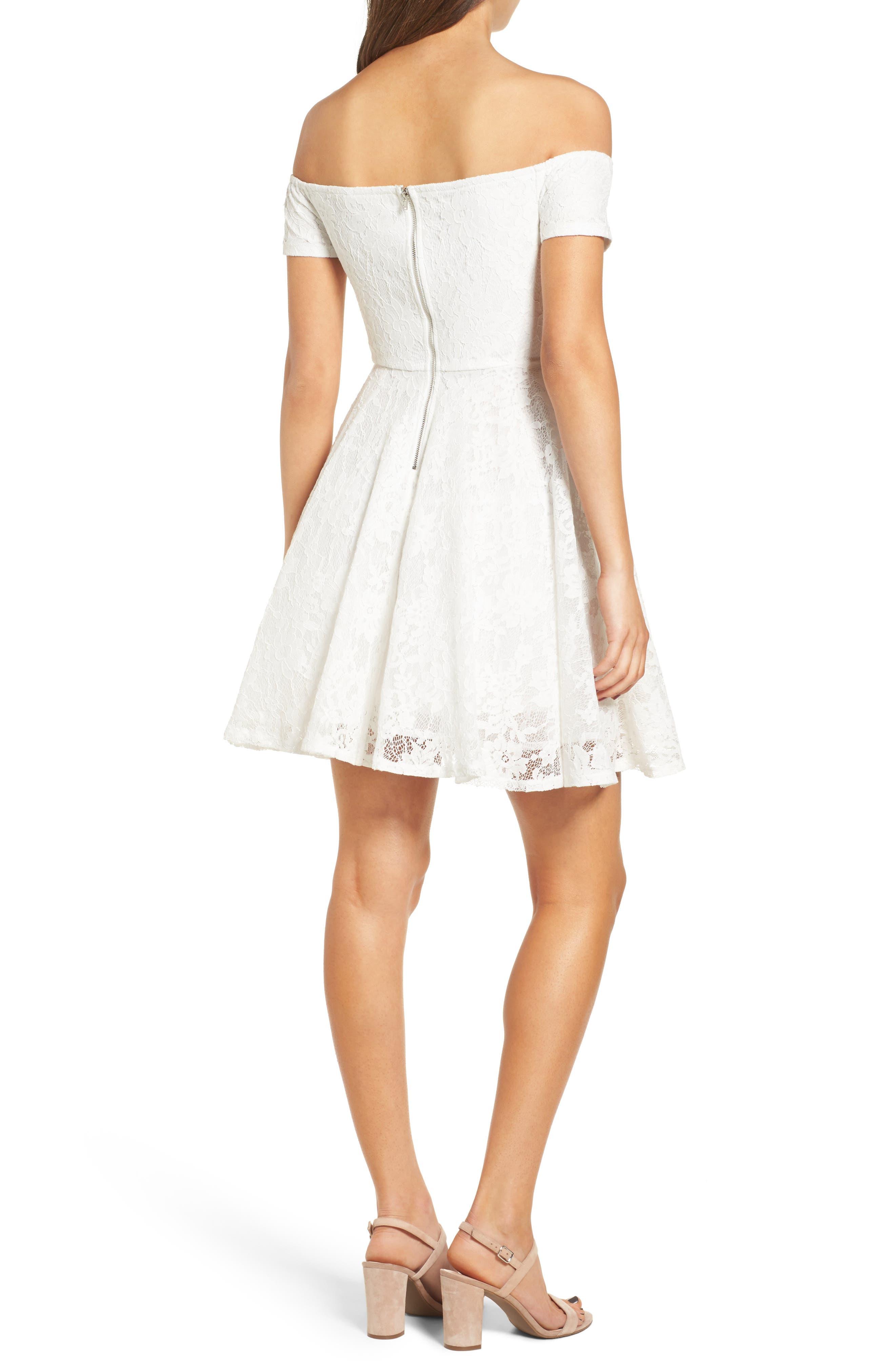 Lace Off the Shoulder Fit & Flare Dress,                             Alternate thumbnail 14, color,