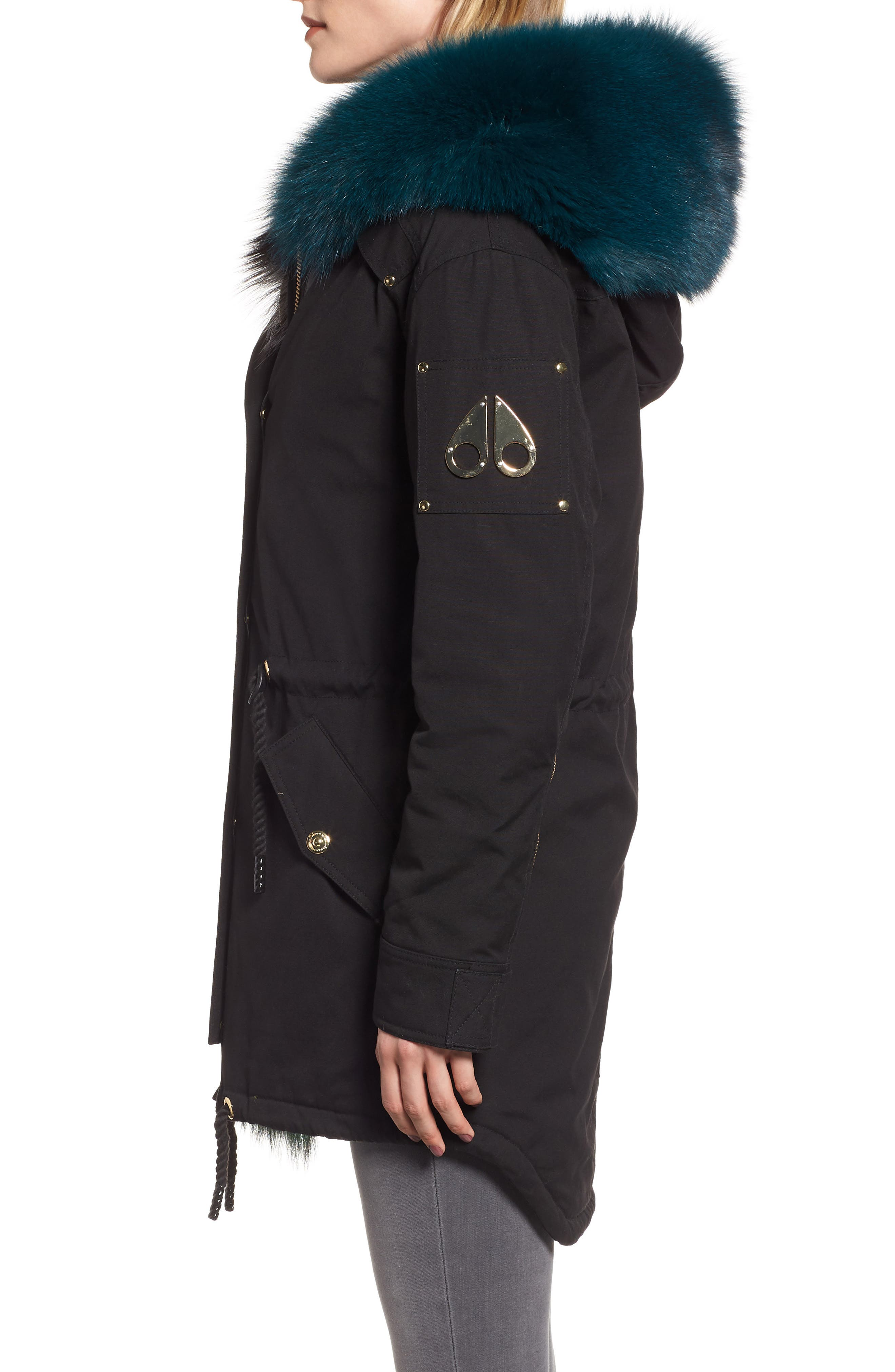Foxy Stellar Parka with Genuine Rabbit Fur & Genuine Fox Fur,                             Alternate thumbnail 3, color,                             BLACK/ TEAL/ SKY BLUE/ GREEN