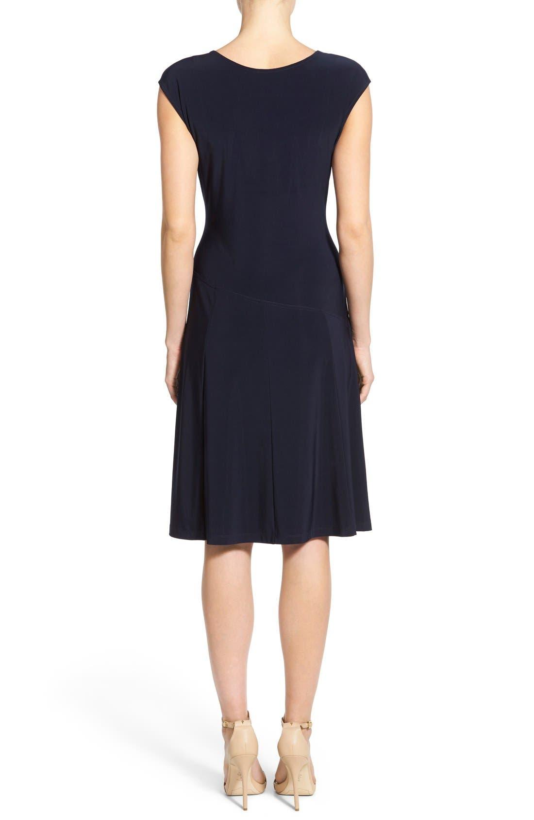 Matte Jersey Faux Wrap Fit & Flare Dress,                             Alternate thumbnail 6, color,