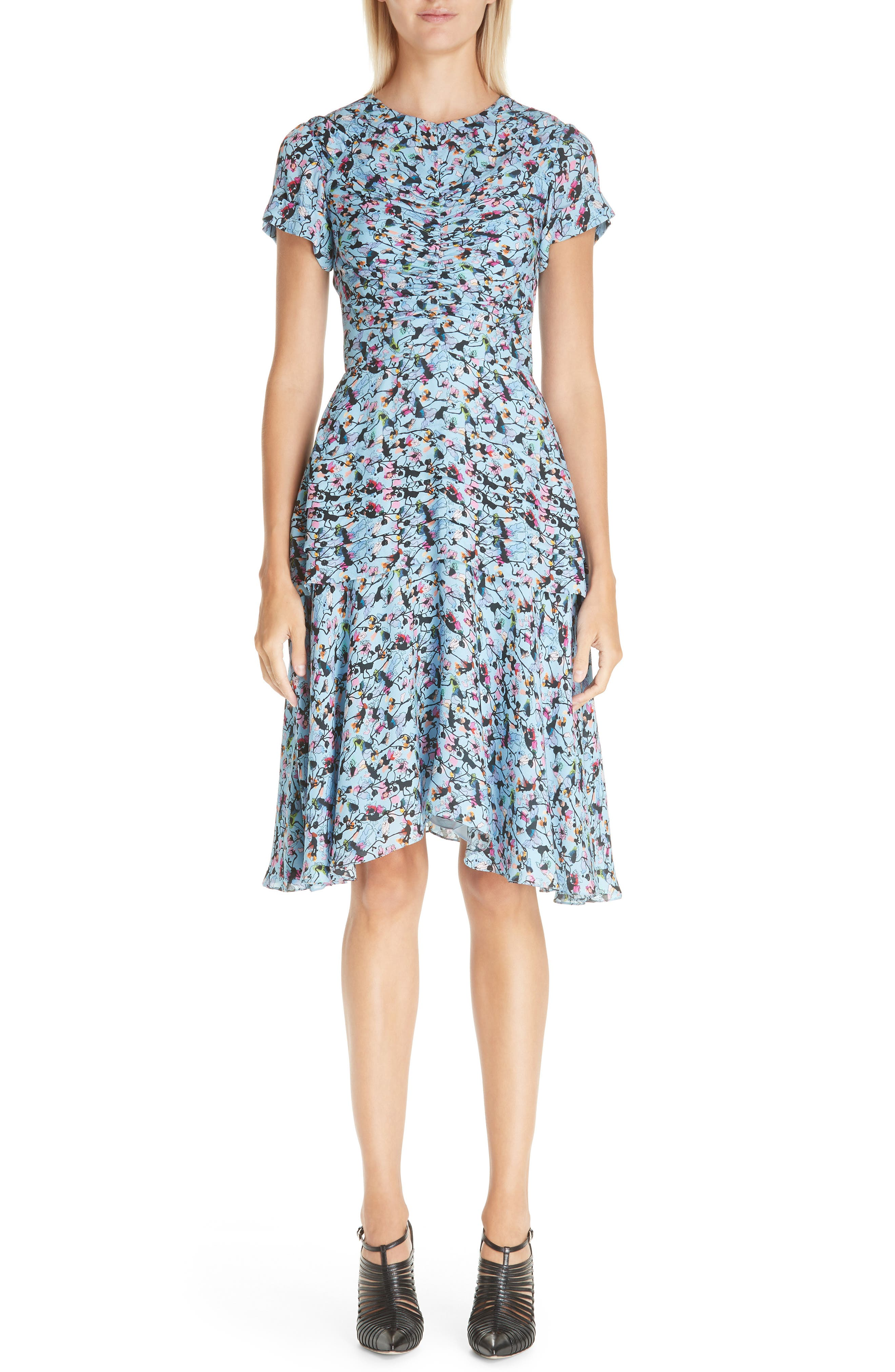 Short-Sleeve Ruched Floral-Print Silk Georgette Day Dress in Blue Multi