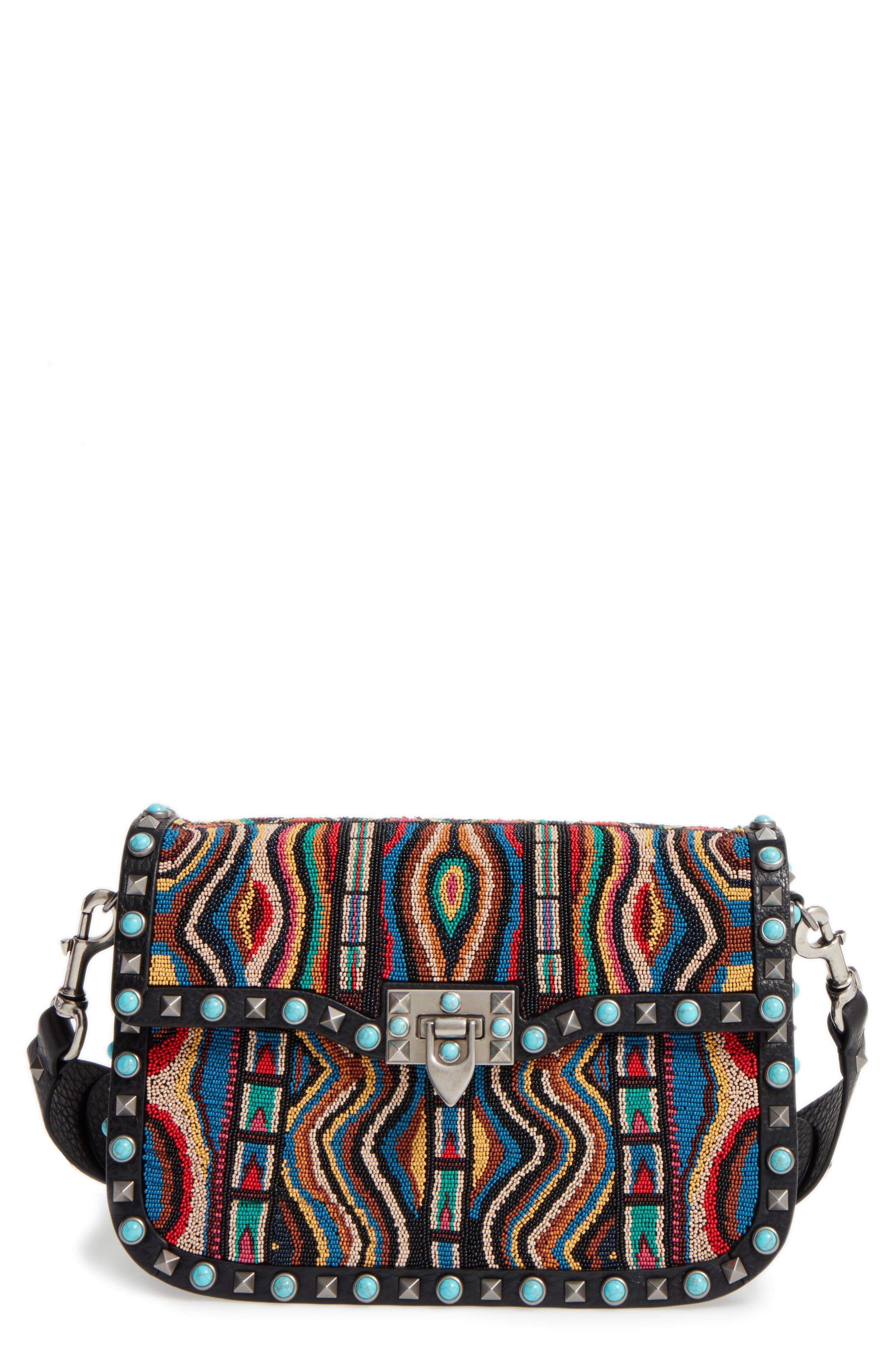 Valentino Rockstud Rolling Beaded Shoulder Bag with Embroidered Guitar Strap, Main, color, 001