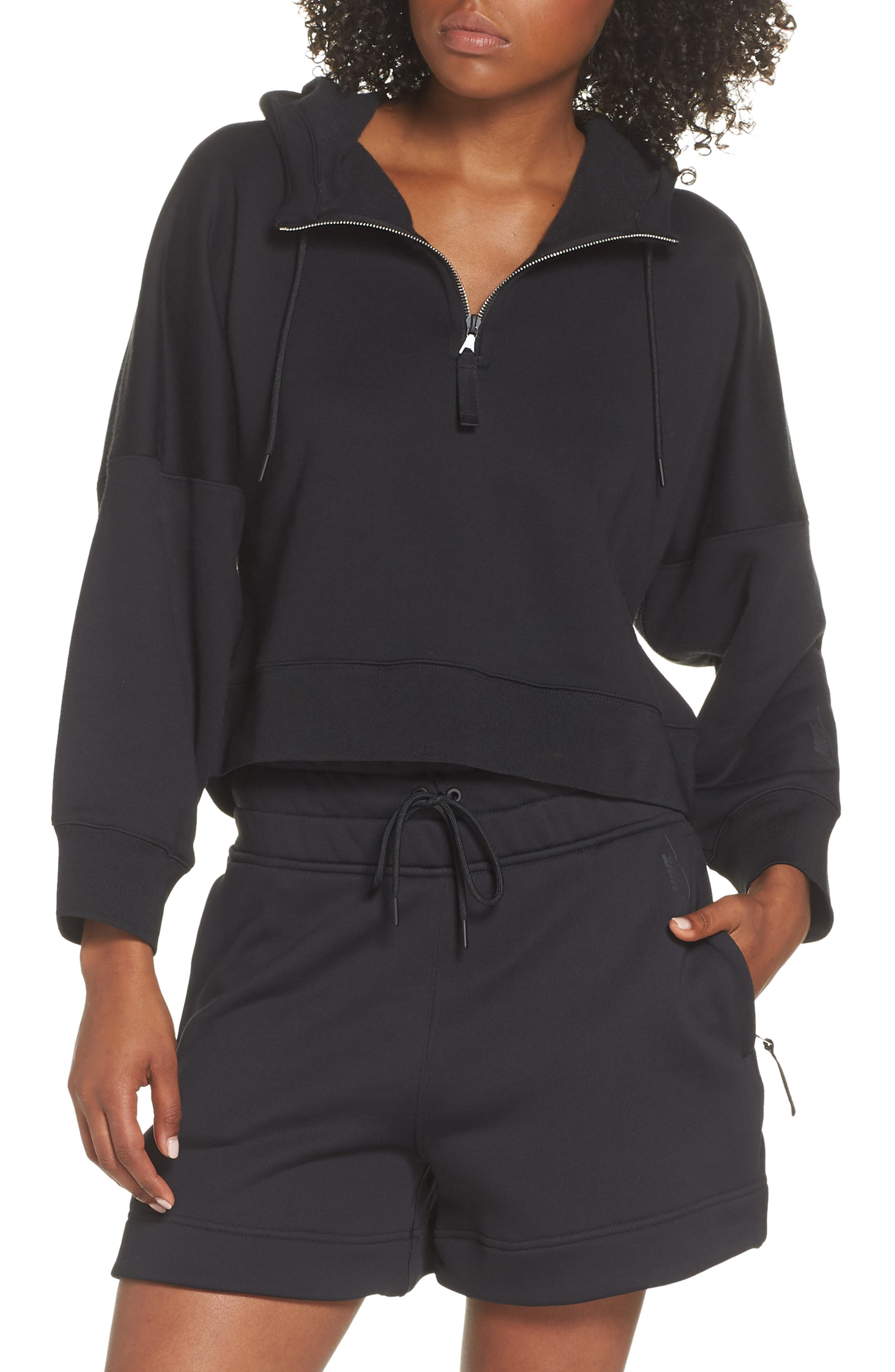 NikeLab Collection Women's Half Zip Fleece Hoodie,                             Main thumbnail 1, color,                             BLACK/ BLACK