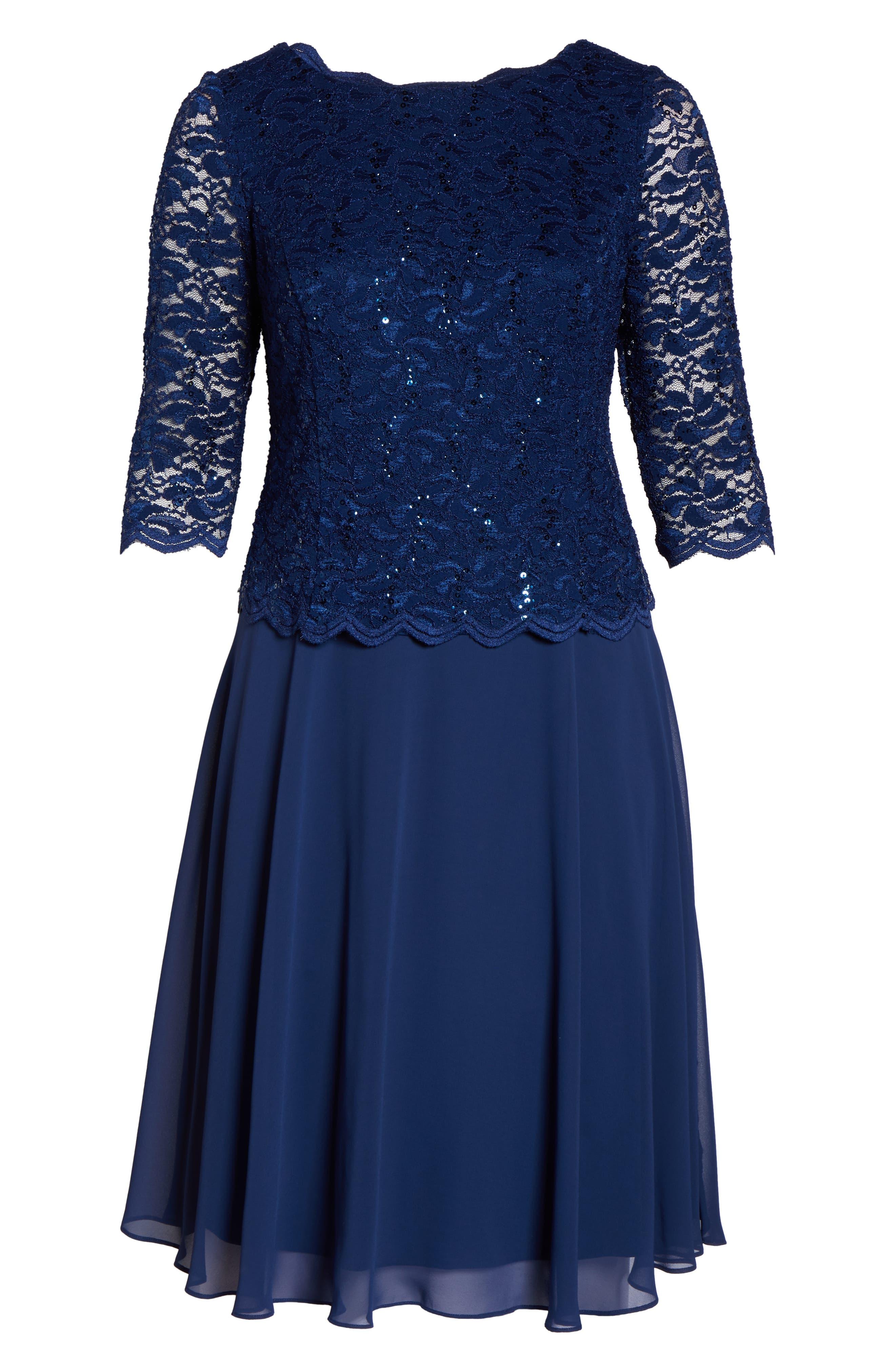 Mock Two-Piece Tea Length Dress,                             Alternate thumbnail 7, color,                             COBALT