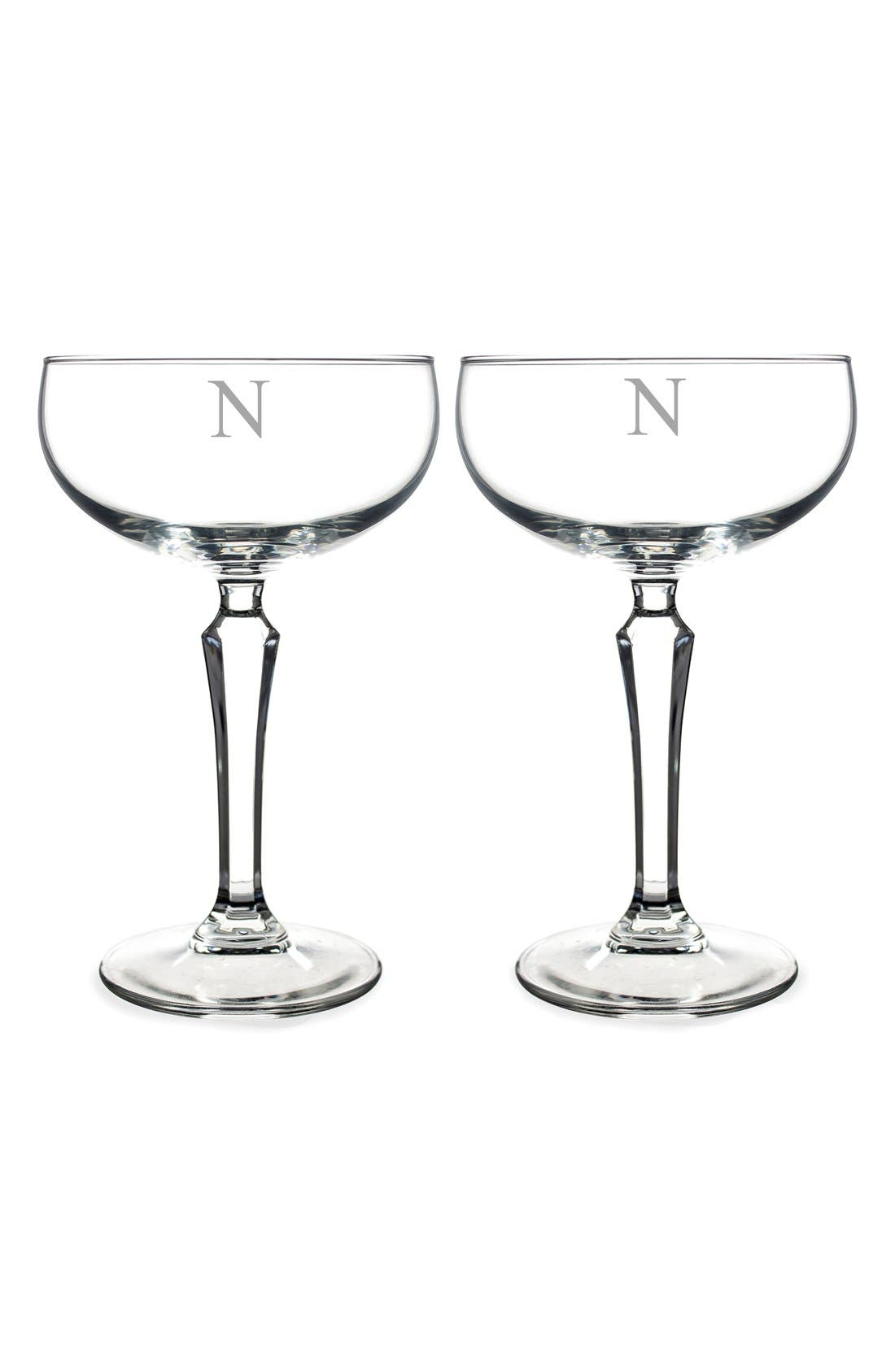 Monogram Coupe Cocktail/Champagne Glasses,                             Main thumbnail 16, color,