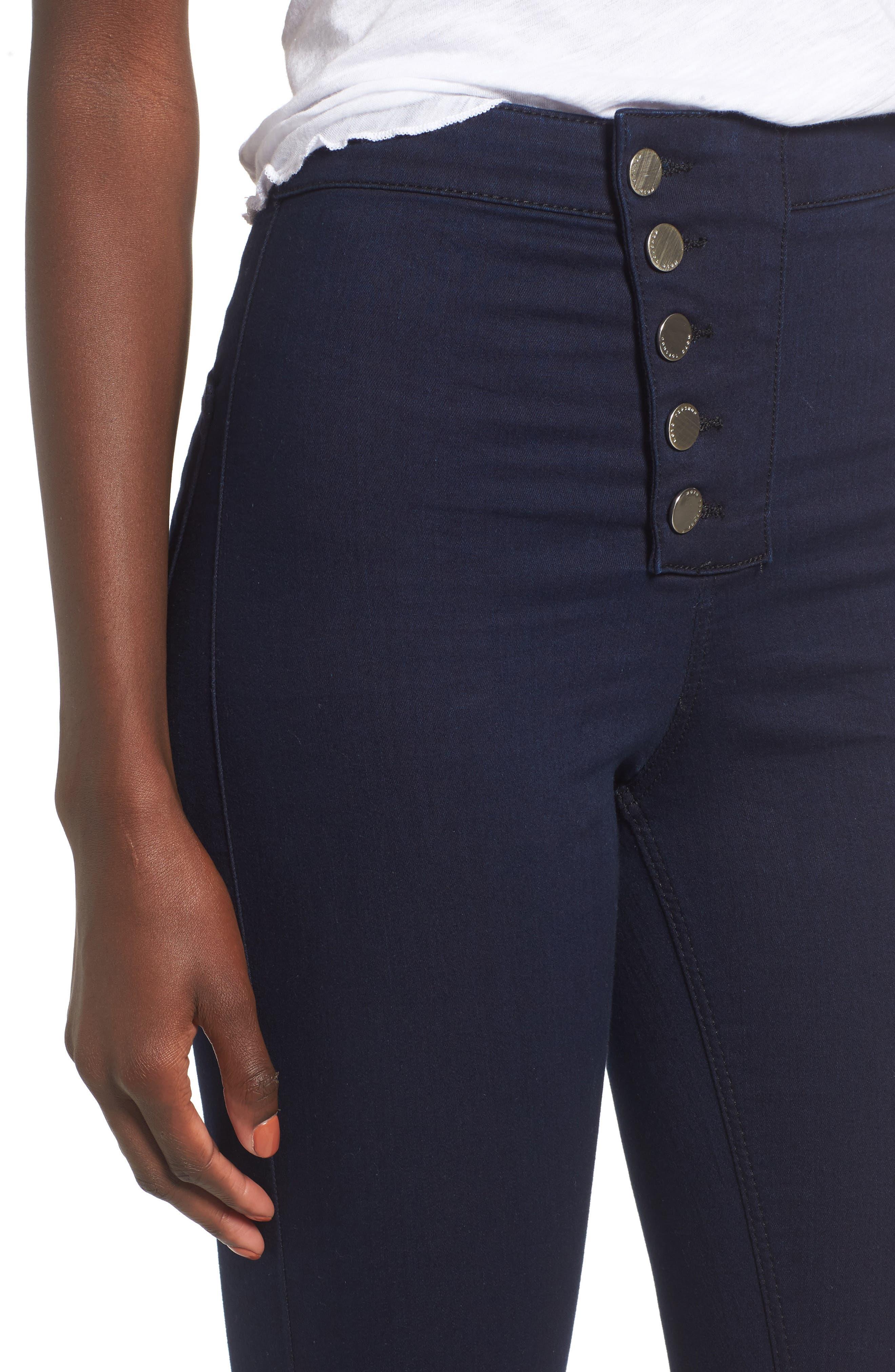 Joni Button Front Skinny Jeans,                             Alternate thumbnail 4, color,                             401