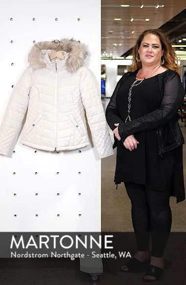 Water-Resistant Hooded Coat with Faux Fur Trim, sales video thumbnail