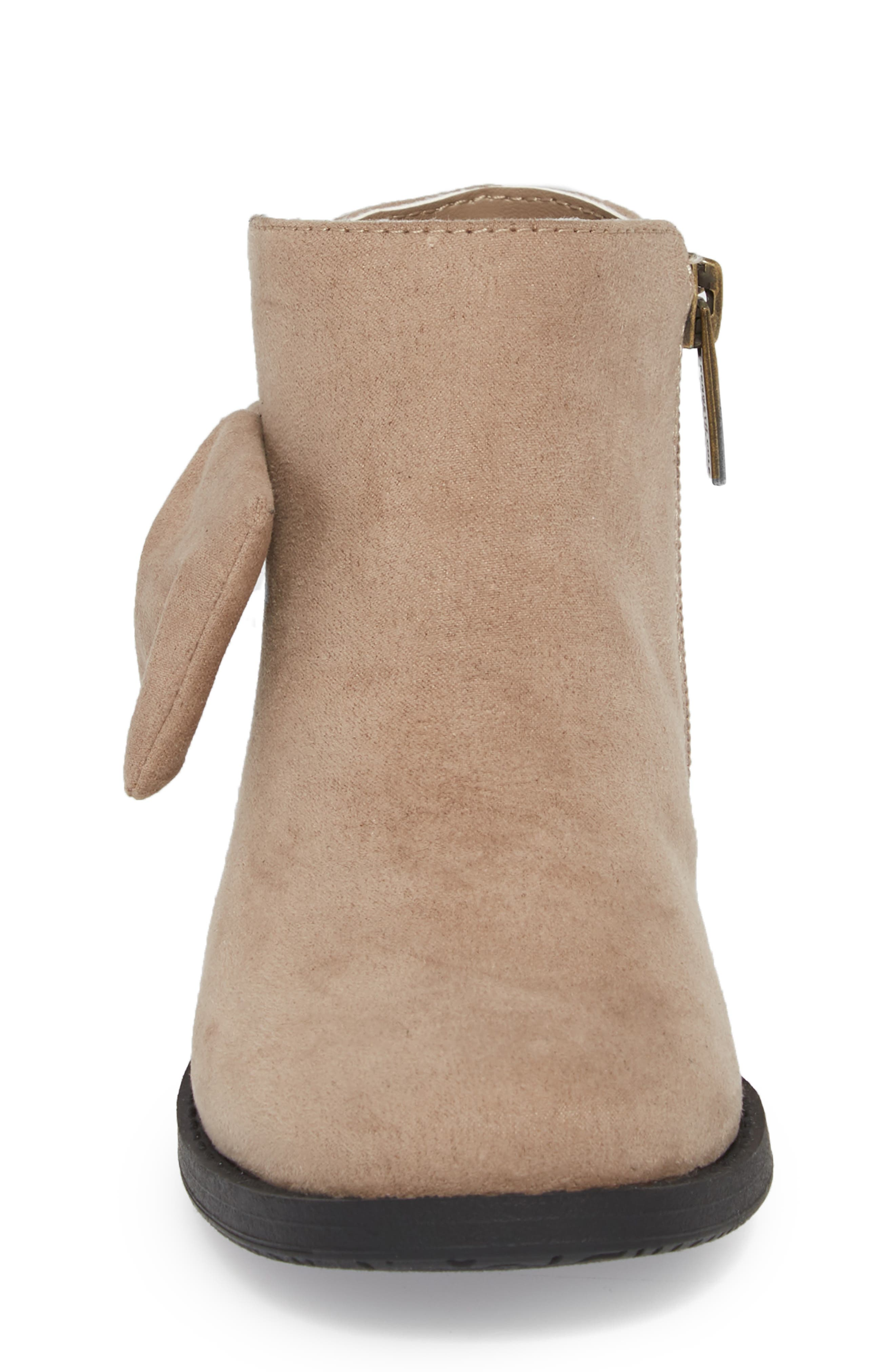 Glittery Kennedy Tie Bootie,                             Alternate thumbnail 4, color,                             TAUPE
