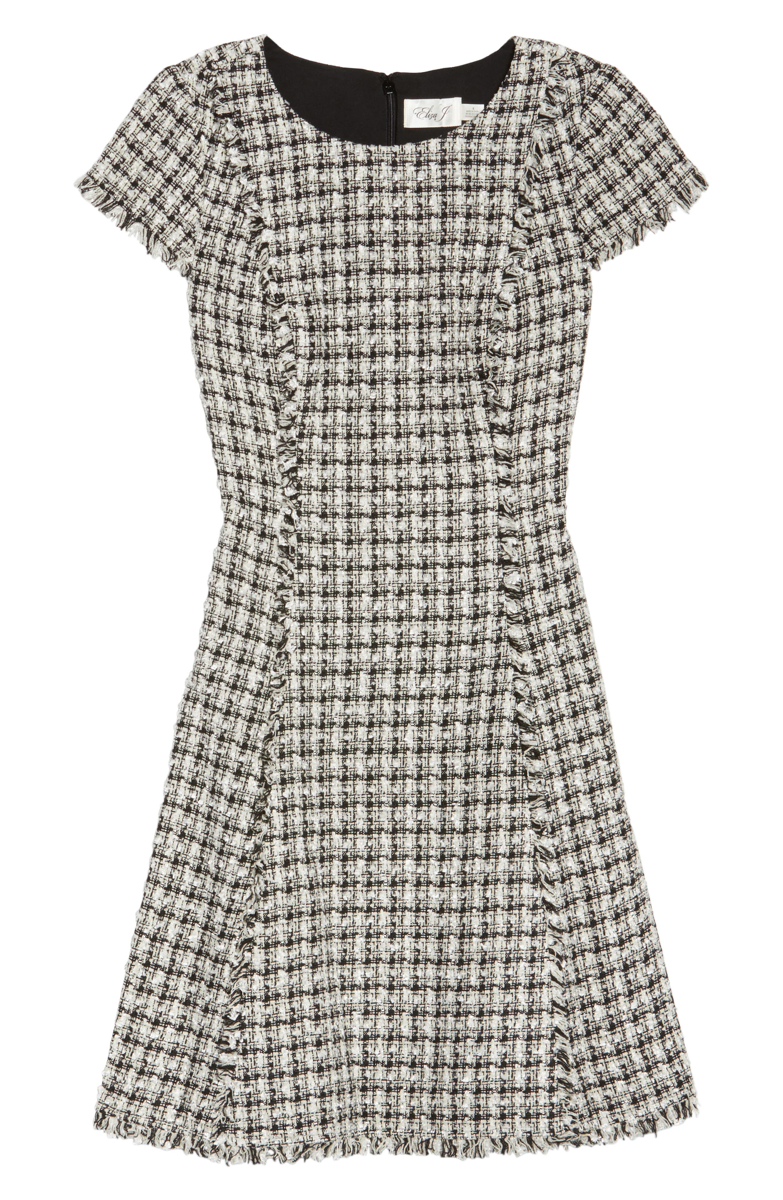 Houndstooth Fit & Flare Dress,                             Alternate thumbnail 6, color,                             901