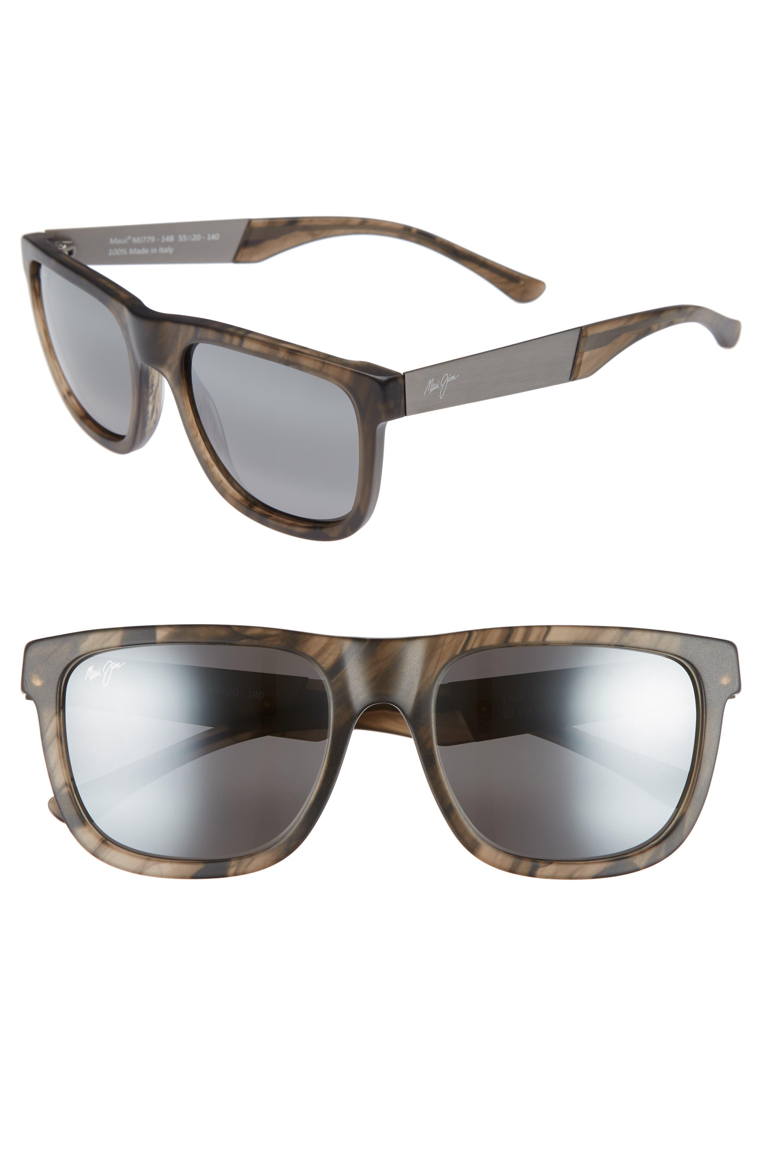 Maui Jim Talk Story 55Mm Polarized Sunglasses - Stormy Grey/ Neutral Grey
