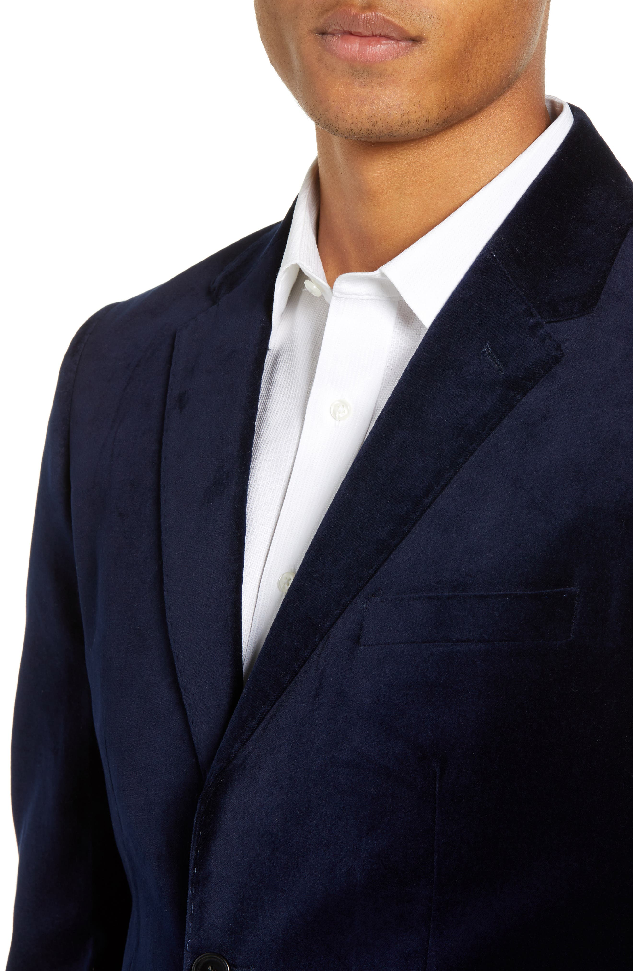 FRENCH CONNECTION,                             Regular Fit Plush Velveteen Blazer,                             Alternate thumbnail 4, color,                             BLUE BLOOD