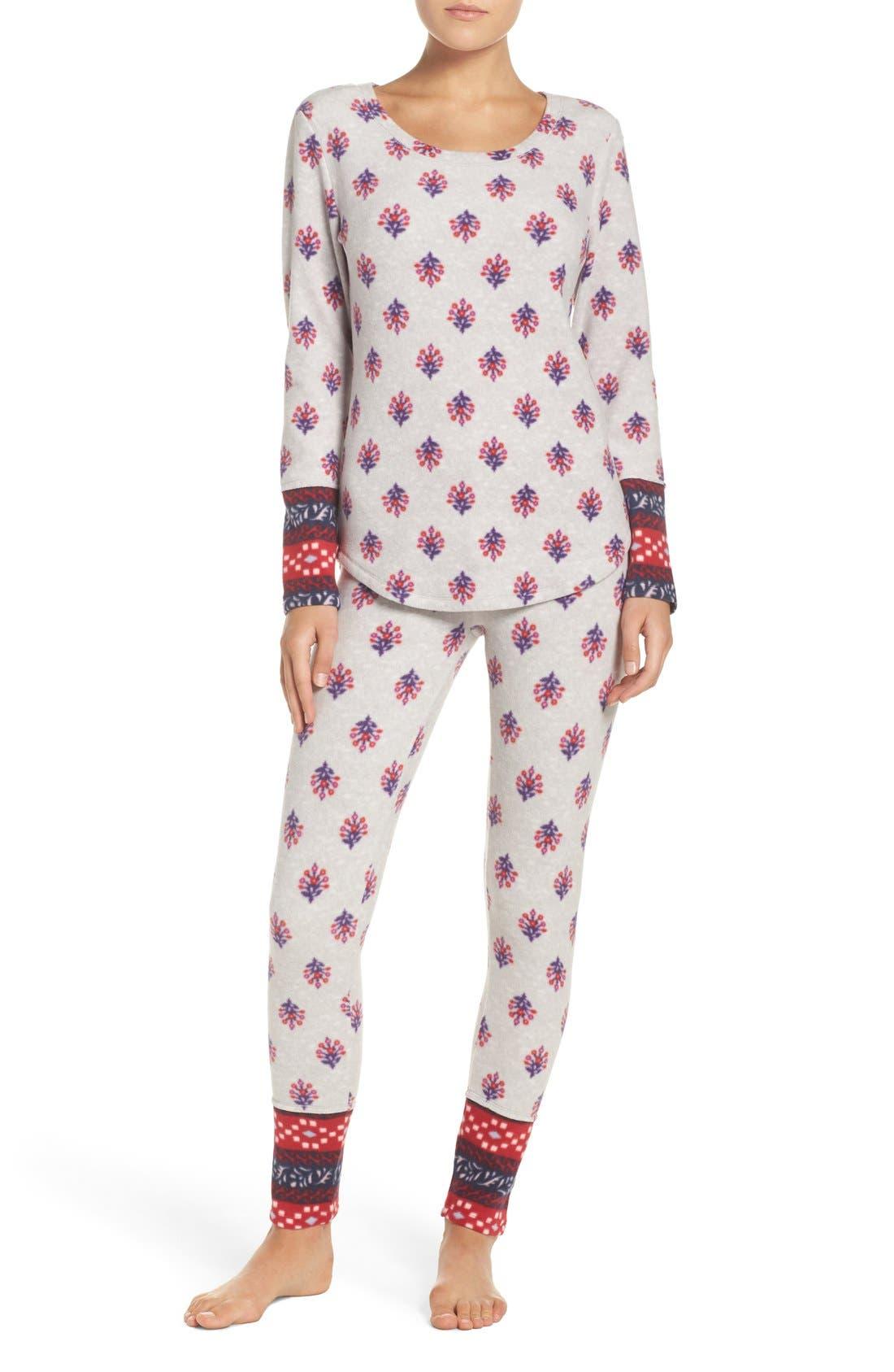 Print Fleece Pajamas, Main, color, 040