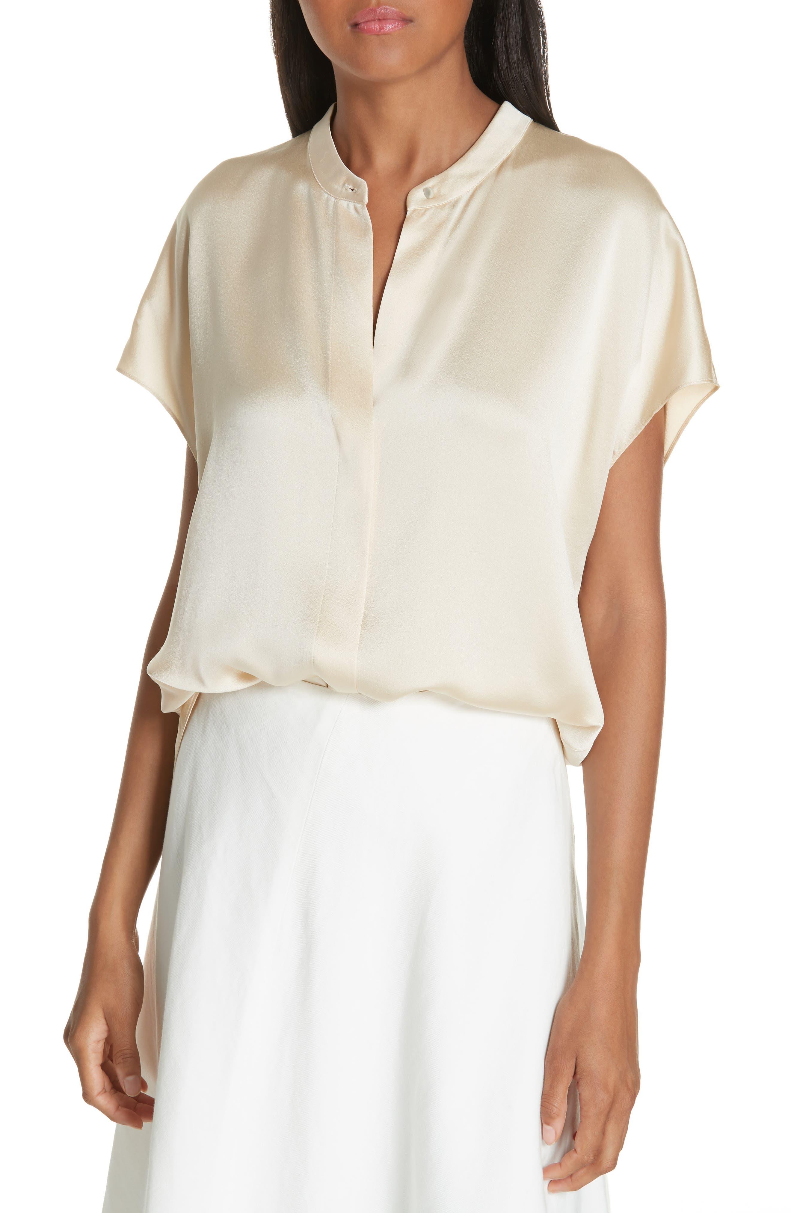 Silk Split-Back Short-Sleeve Popover Top in Sandalwood
