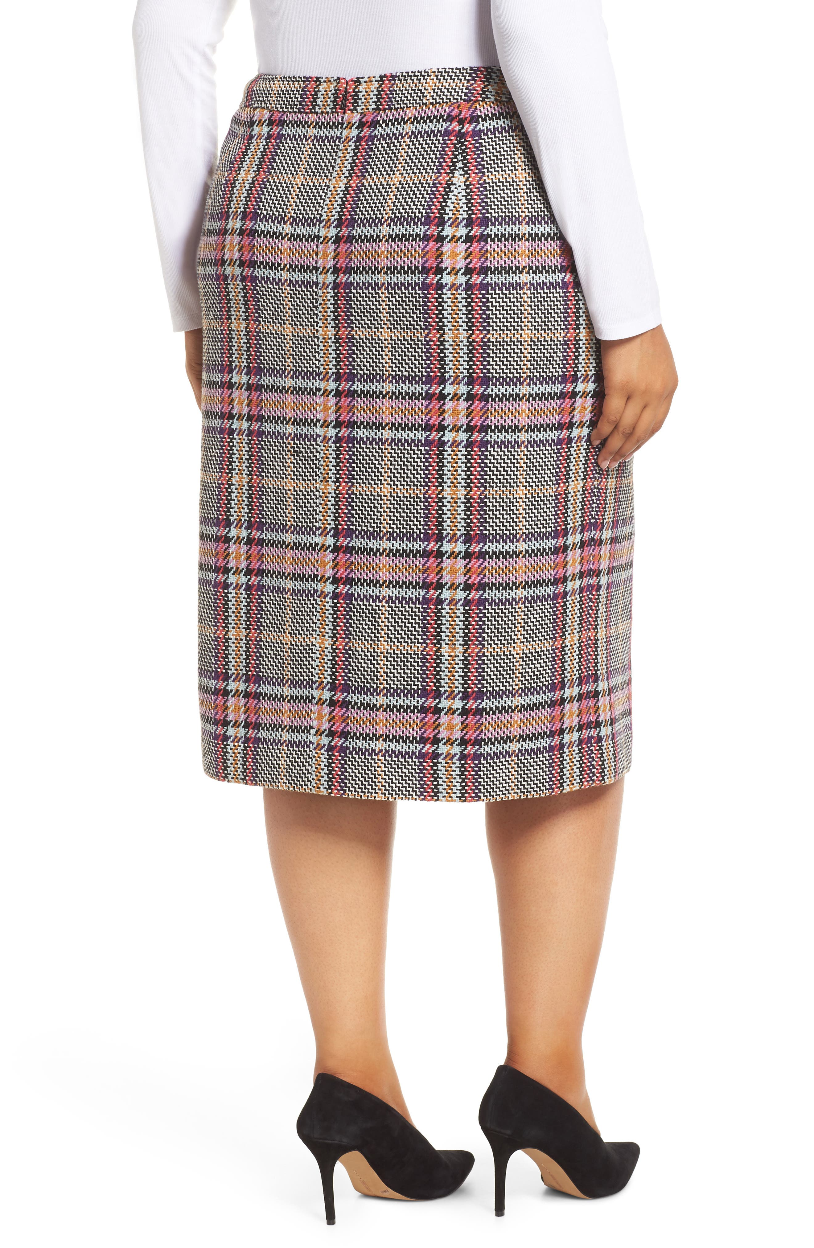 Plaid Pencil Skirt,                             Alternate thumbnail 2, color,                             530