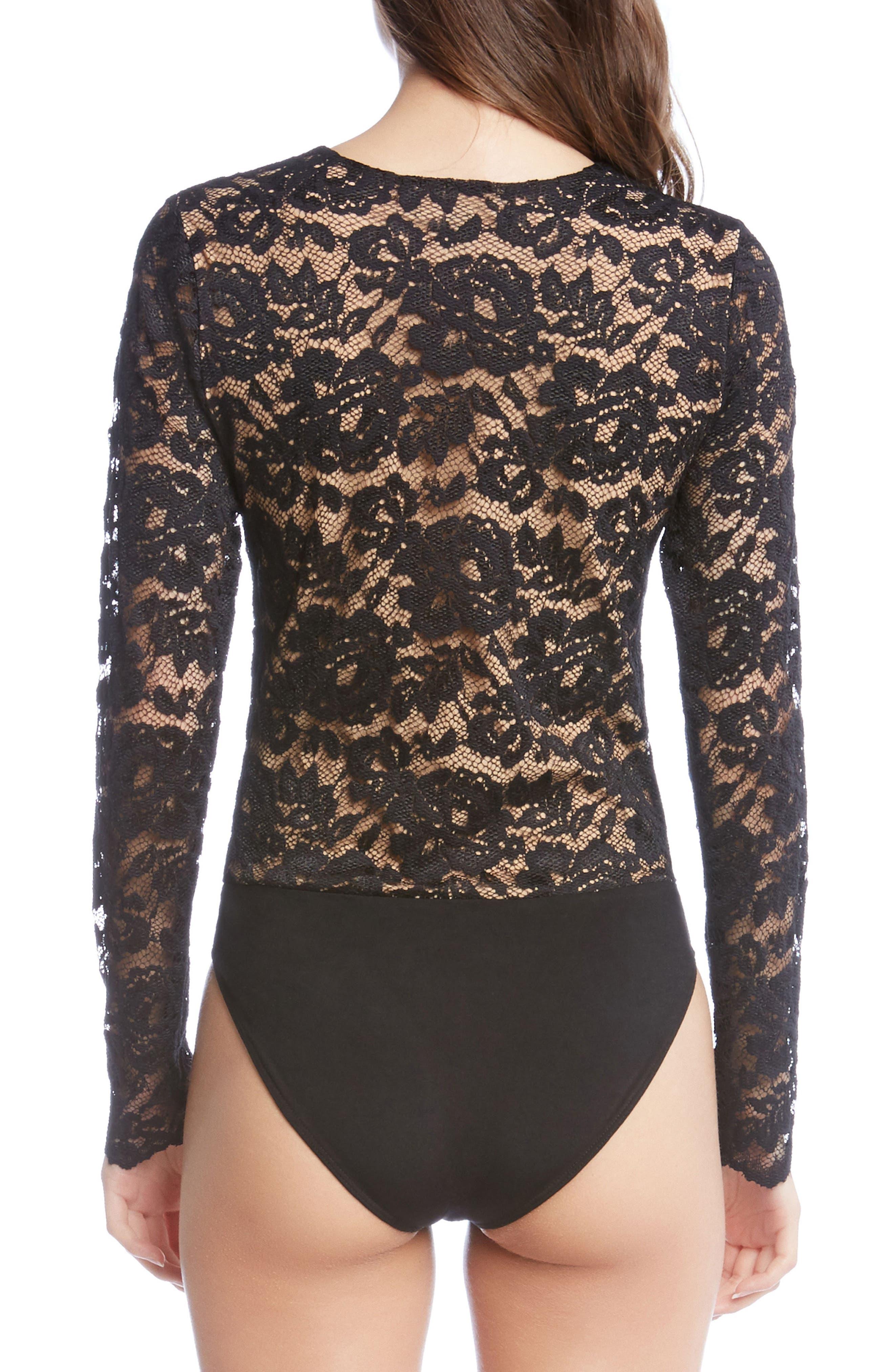 Scallop Lace Bodysuit,                             Alternate thumbnail 3, color,                             001