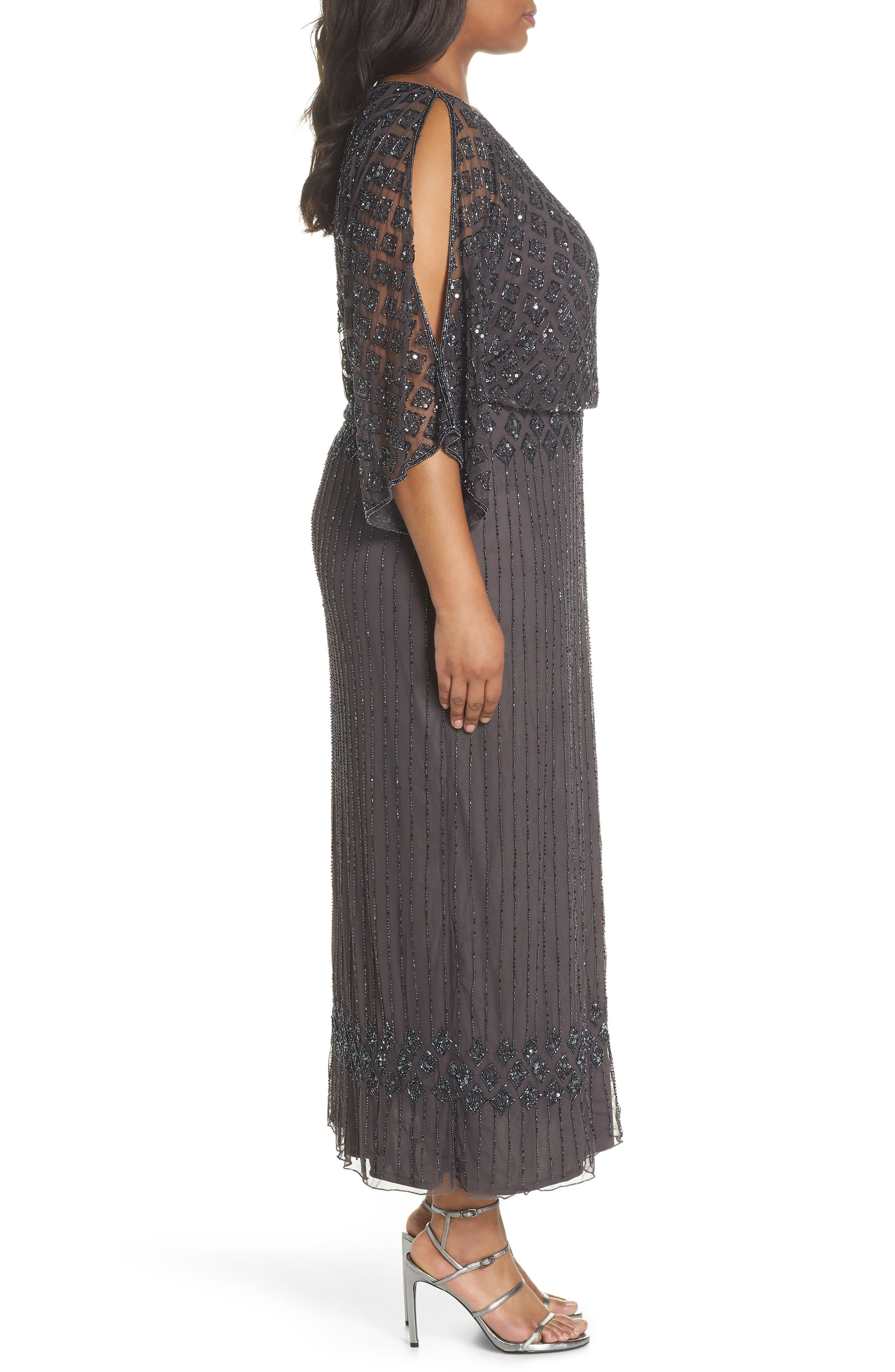 PISARRO NIGHTS,                             Diamond Motif Mesh Blouson Gown,                             Alternate thumbnail 3, color,                             020