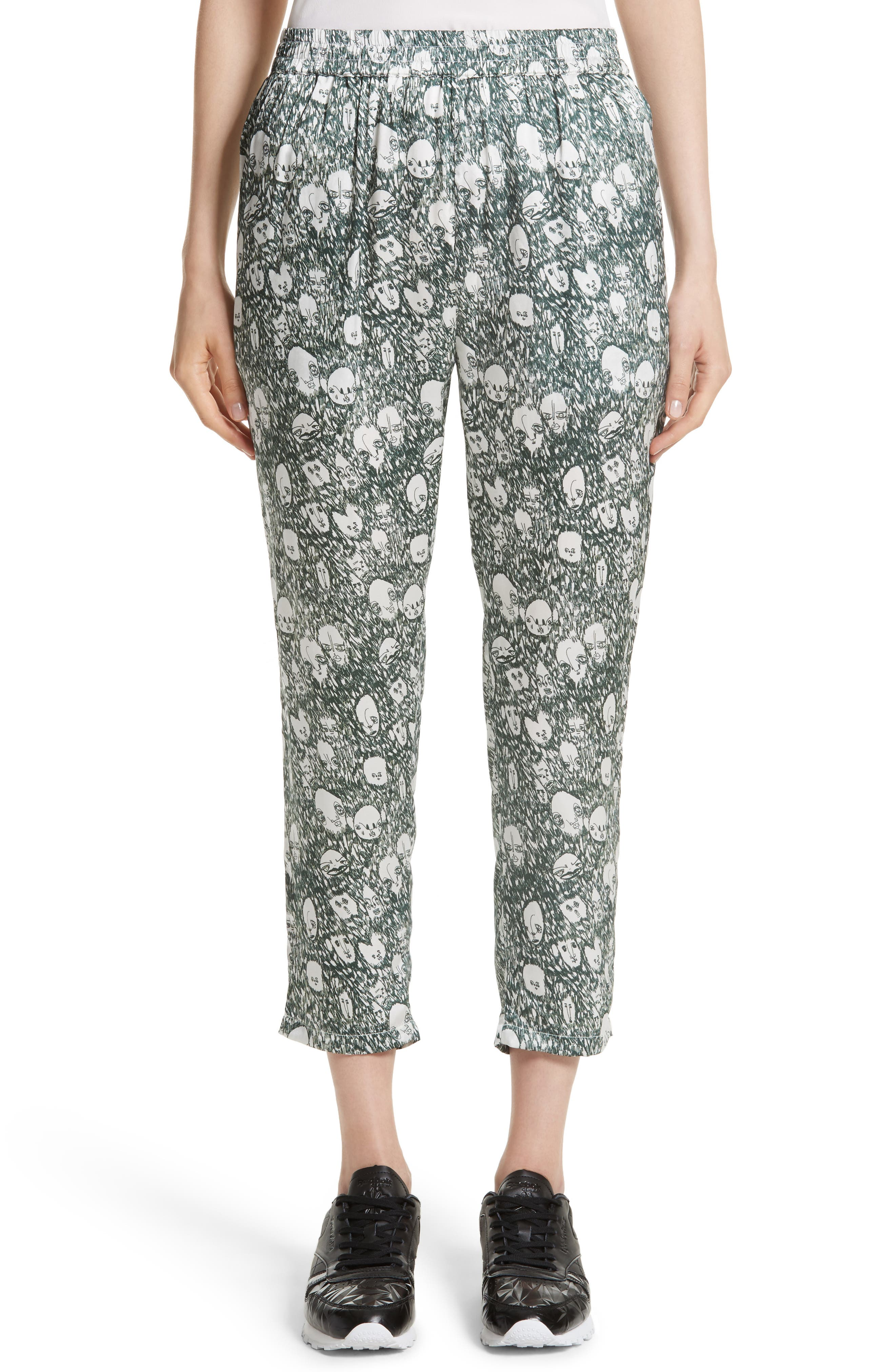 Angus Crop Silk Lounge Pants,                             Main thumbnail 1, color,                             900