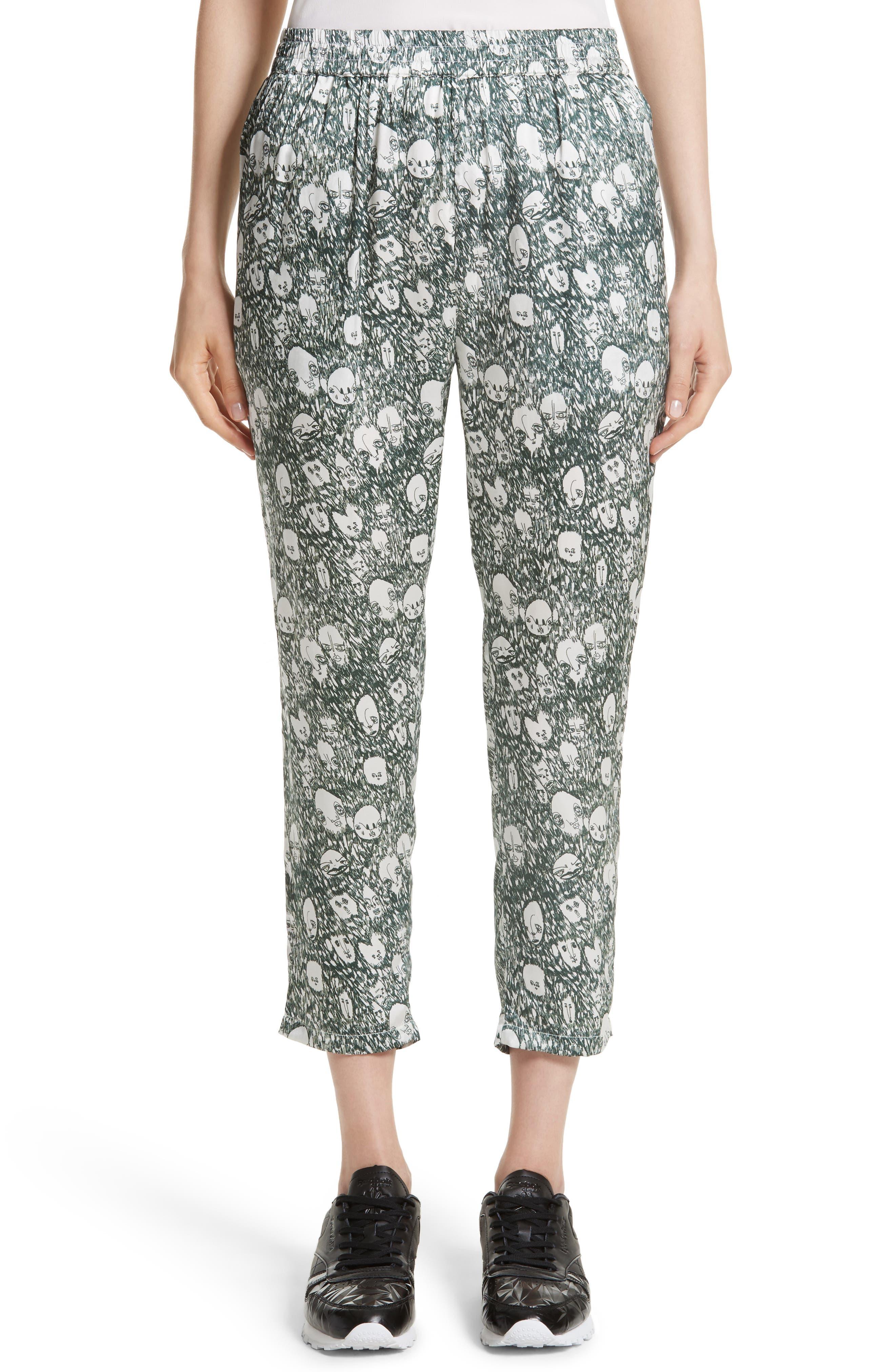 Angus Crop Silk Lounge Pants,                         Main,                         color, 900