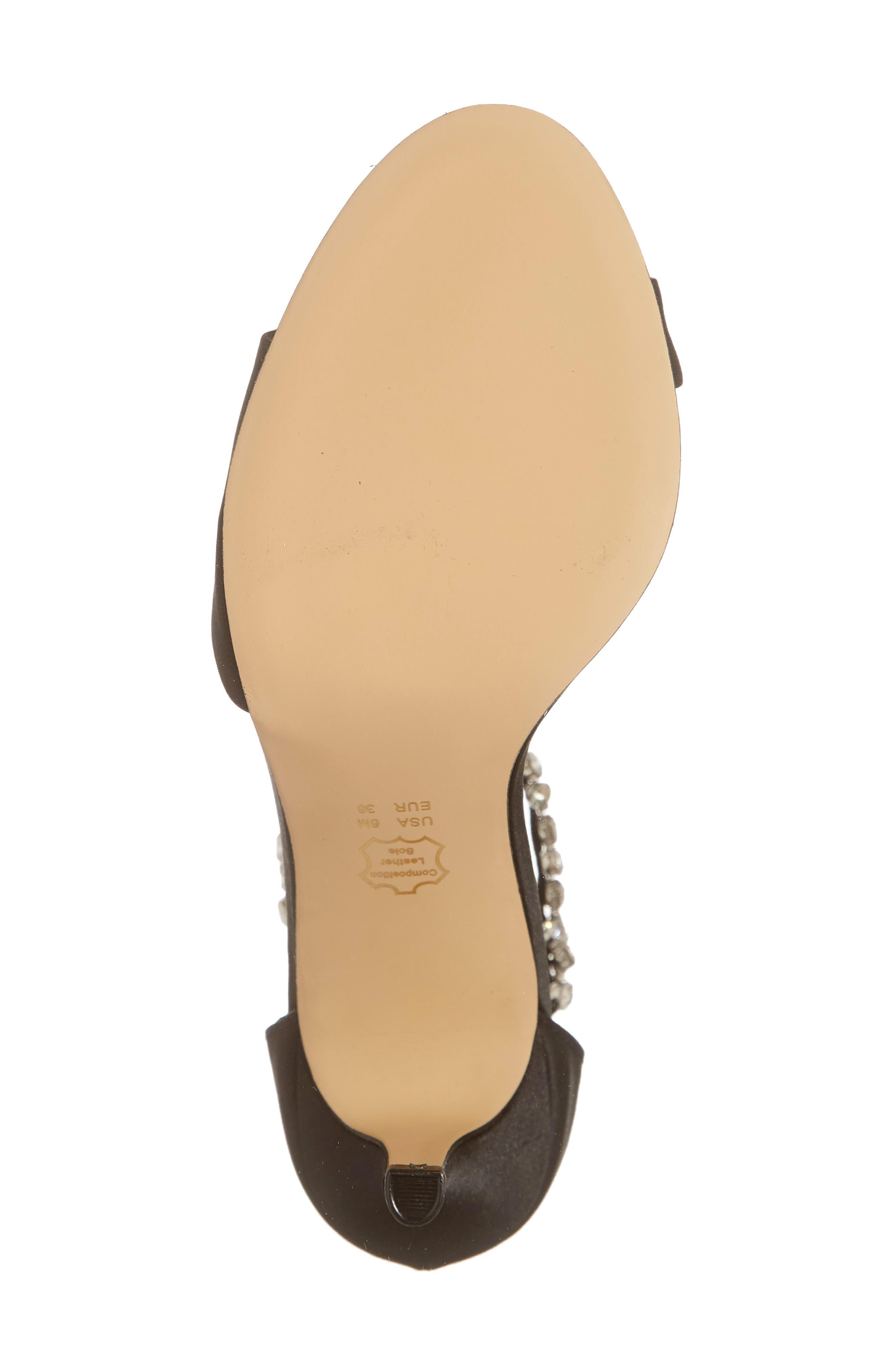 Vera Embellished Ankle Strap Sandal,                             Alternate thumbnail 6, color,                             BLACK SATIN