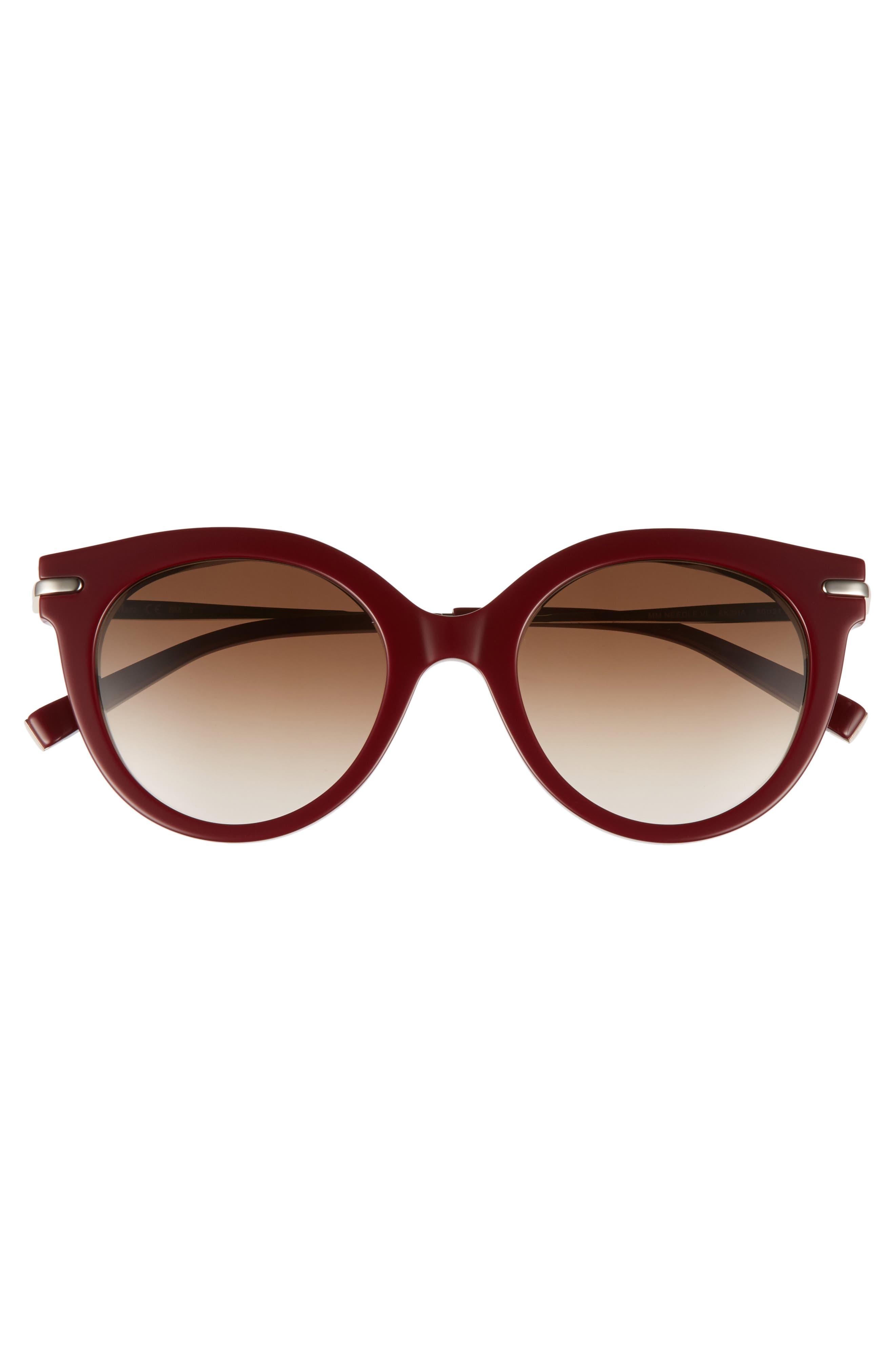 Needle VI 50mm Gradient Round Sunglasses,                             Alternate thumbnail 3, color,                             BURGUNDY GOLD