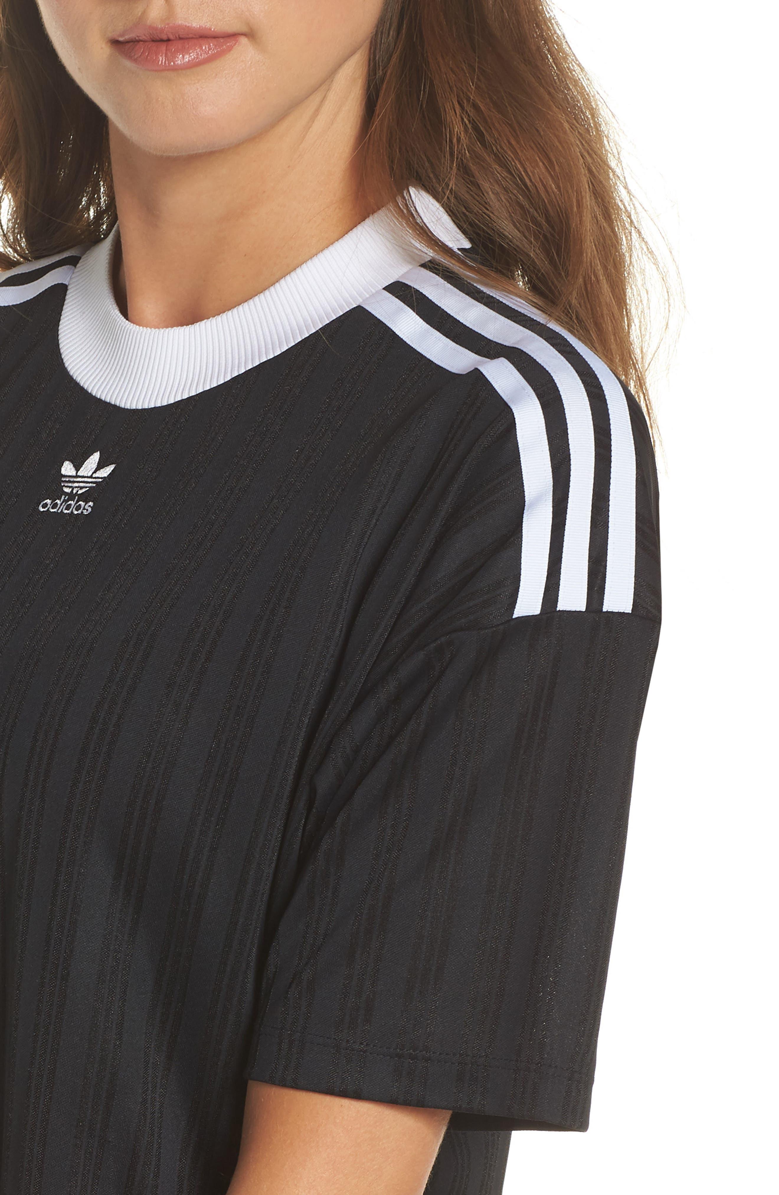 ADIDAS ORIGINALS,                             Trefoil T-Shirt Dress,                             Alternate thumbnail 4, color,                             001