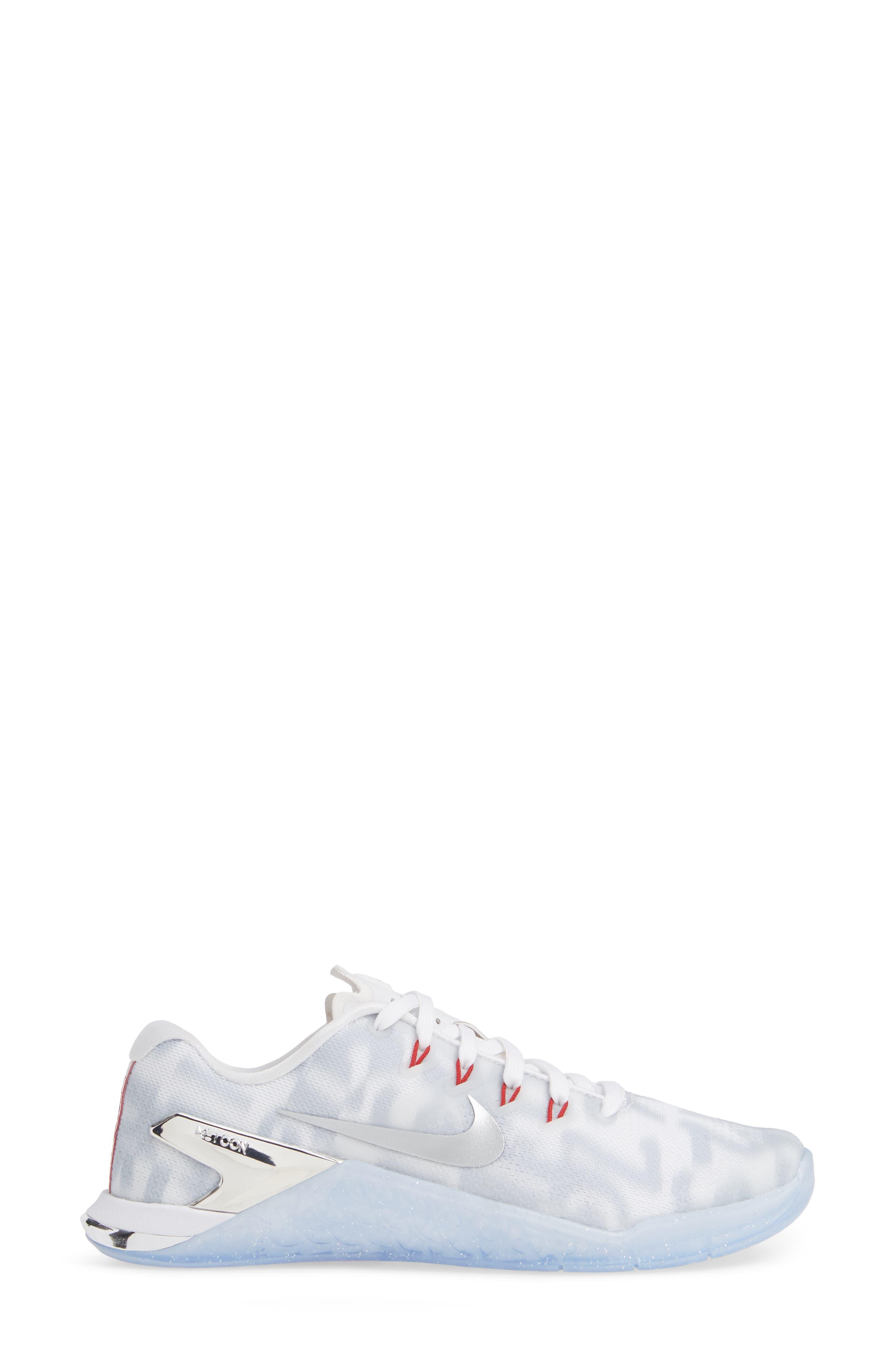 Metcon 4 Training Shoe,                             Alternate thumbnail 3, color,                             WHITE METALLIC SILVER/ GYM RED