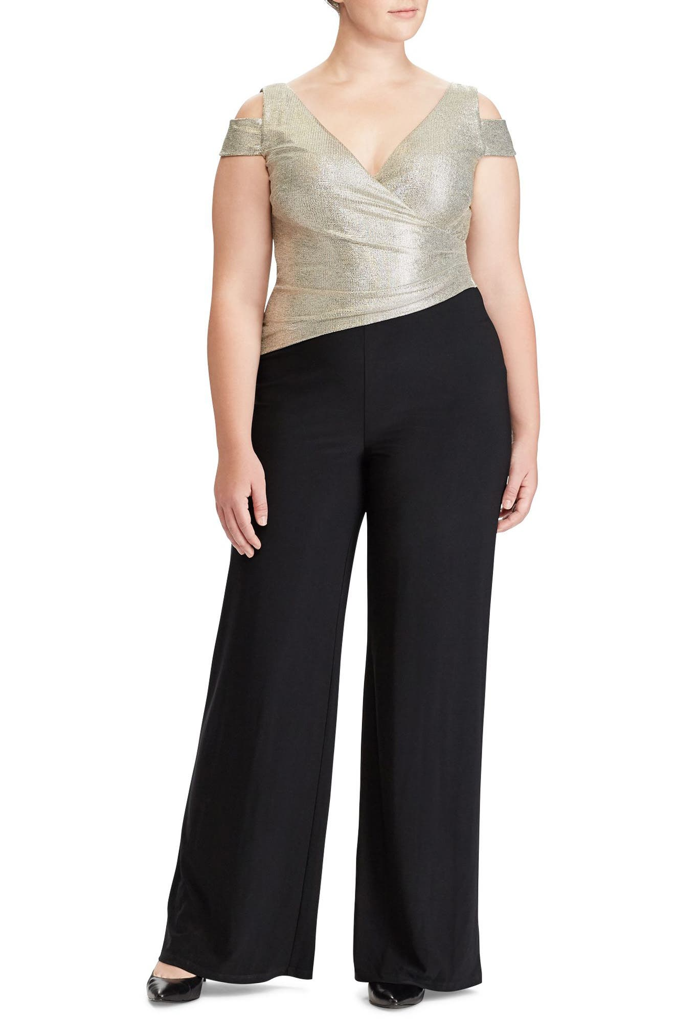 Metallic Cold Shoulder Jumpsuit,                             Main thumbnail 1, color,                             001