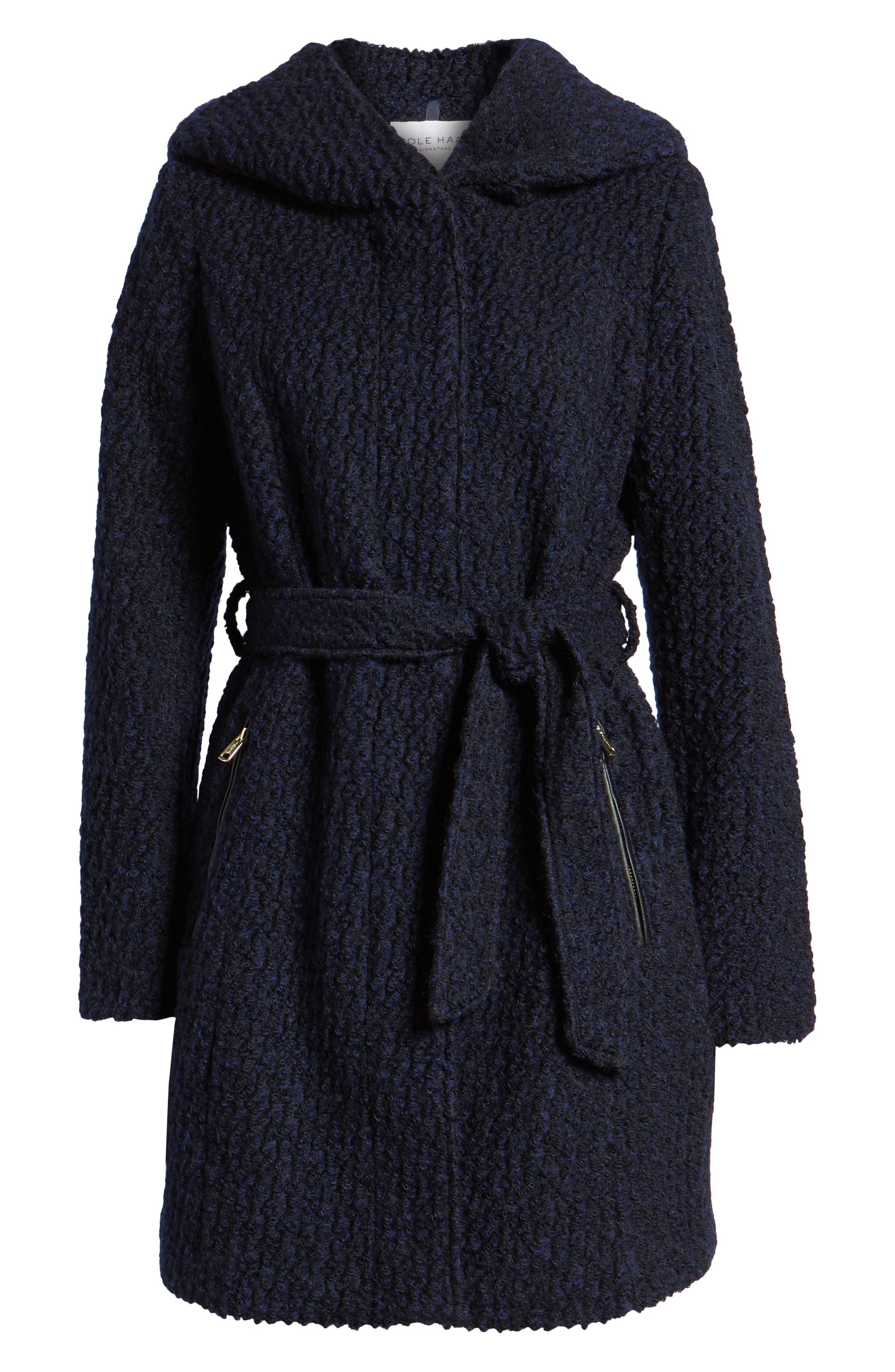 Belted Bouclé Wool Blend Coat,                             Alternate thumbnail 6, color,                             BLACK/ NAVY