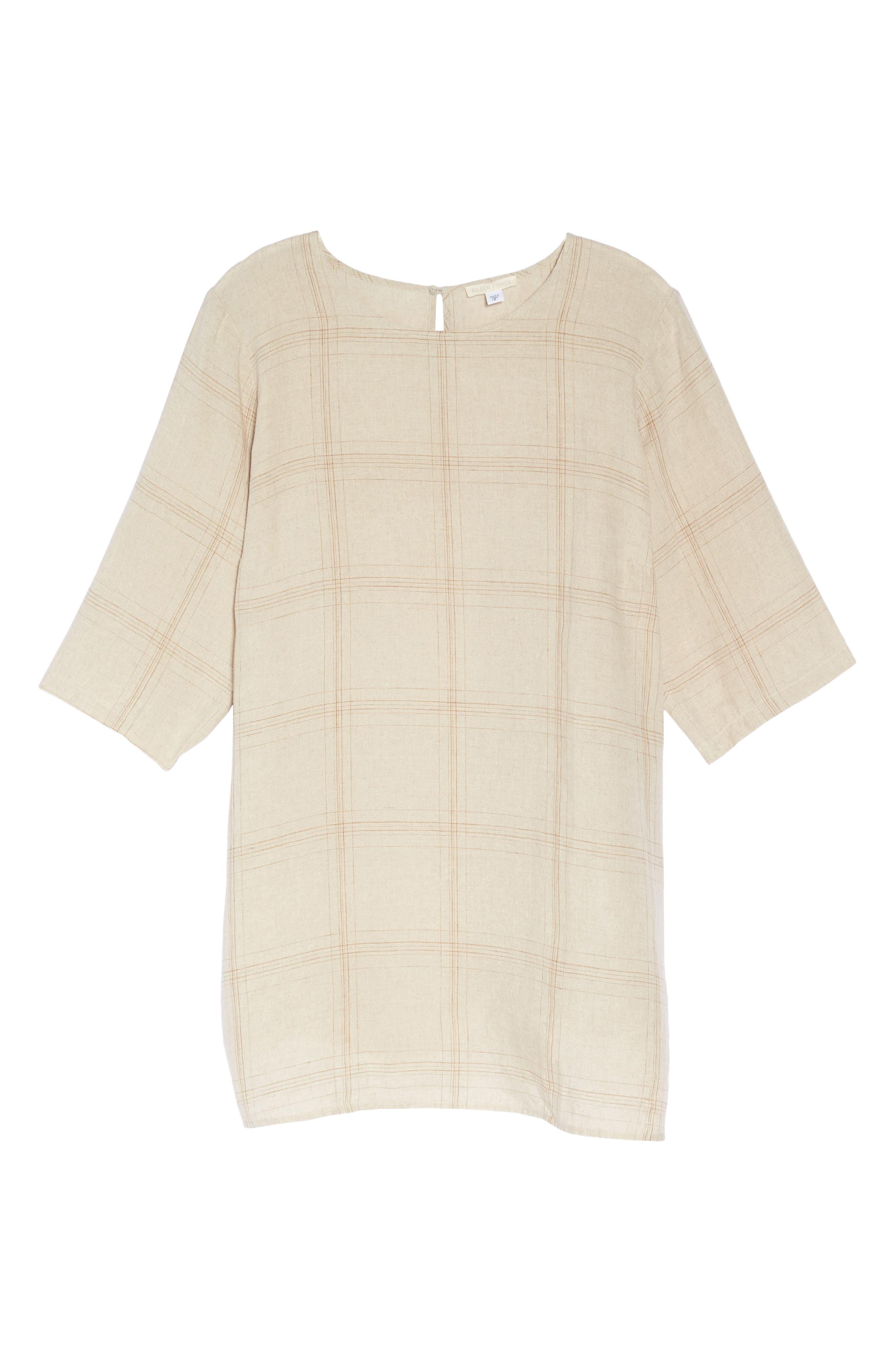 Plaid Organic Linen Tunic,                             Alternate thumbnail 12, color,