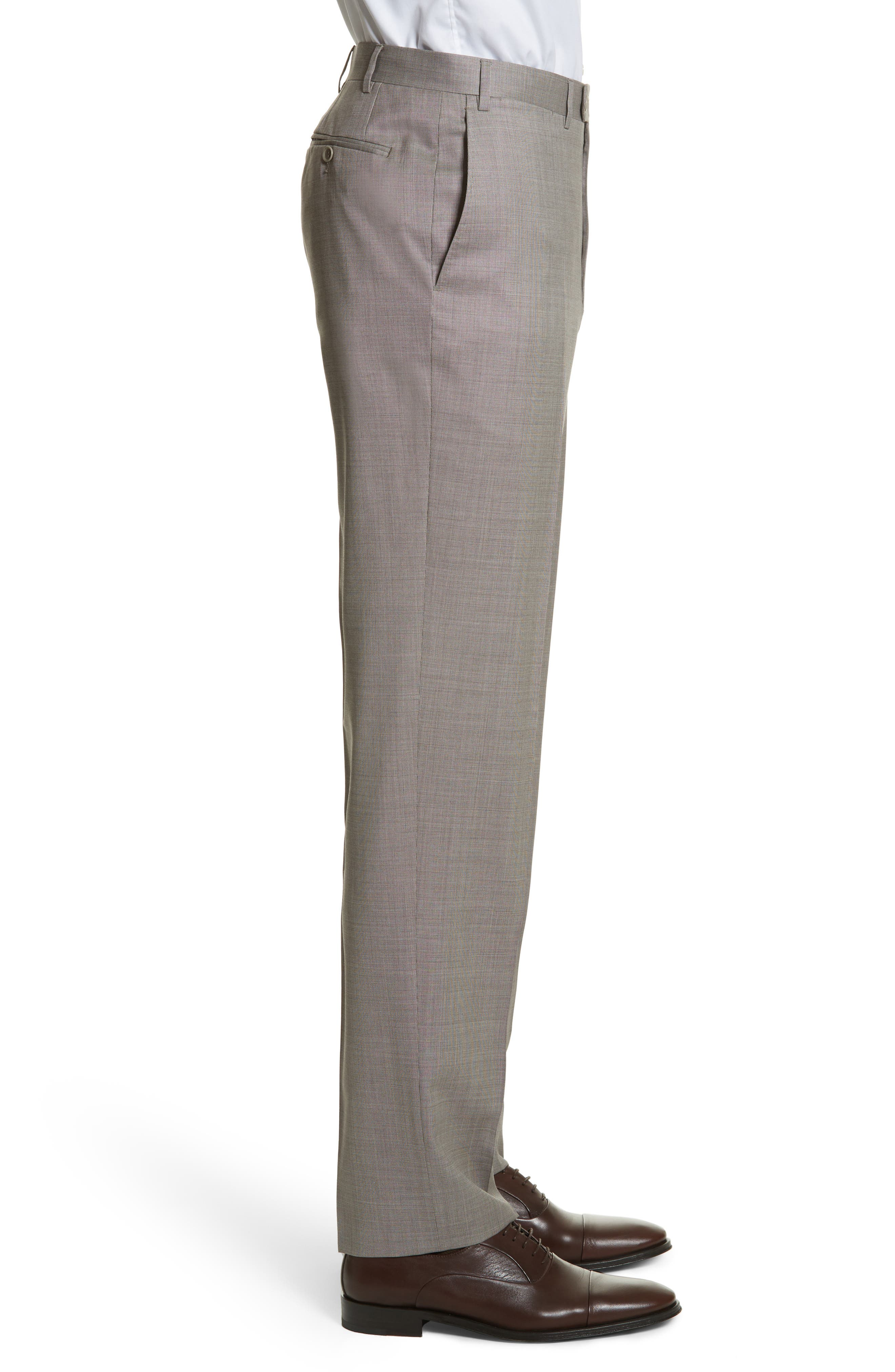 Flat Front Solid Wool Trousers,                             Alternate thumbnail 3, color,                             252