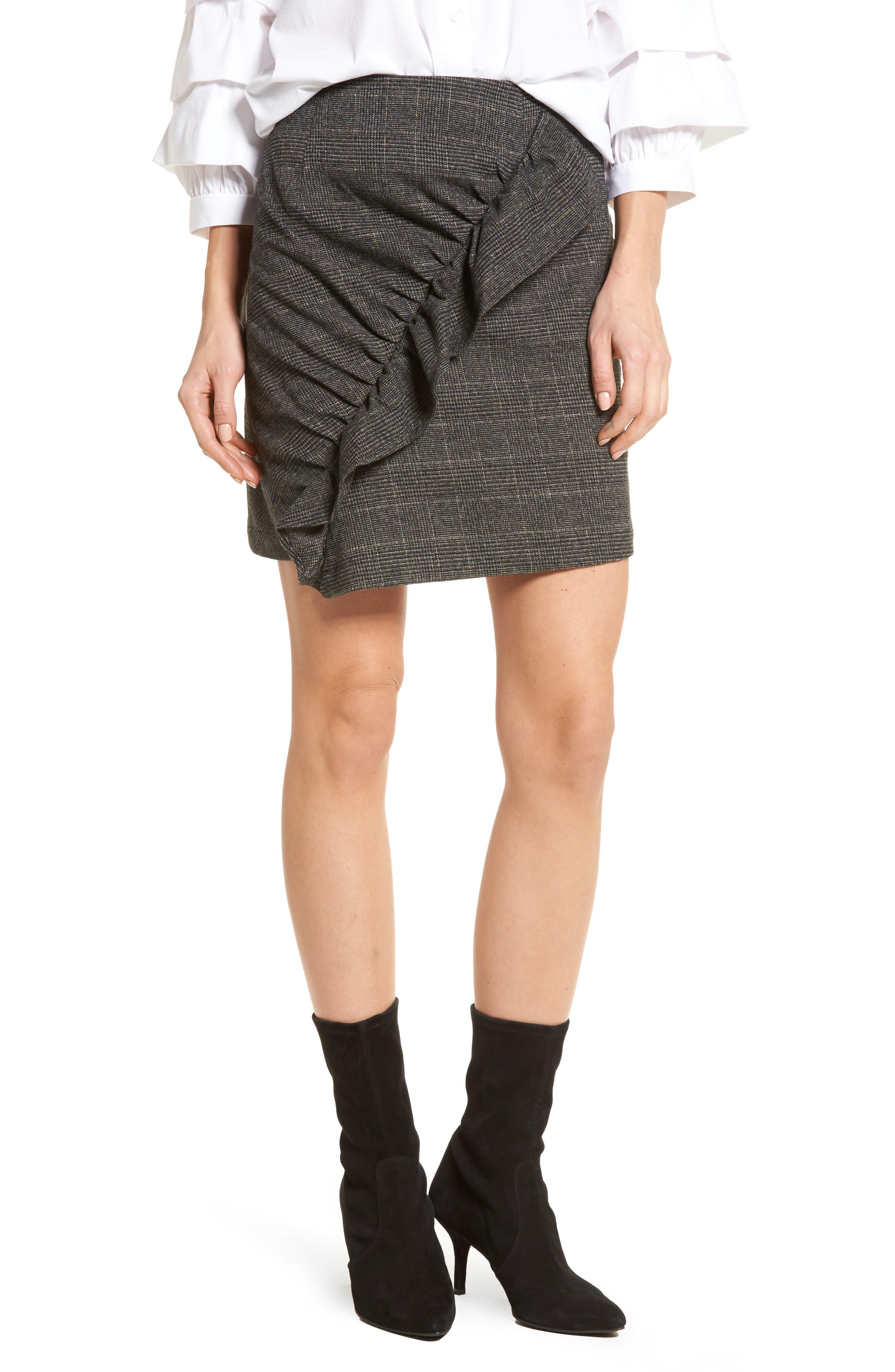 Glen Plaid Ruched Ruffle Skirt,                             Main thumbnail 1, color,                             001