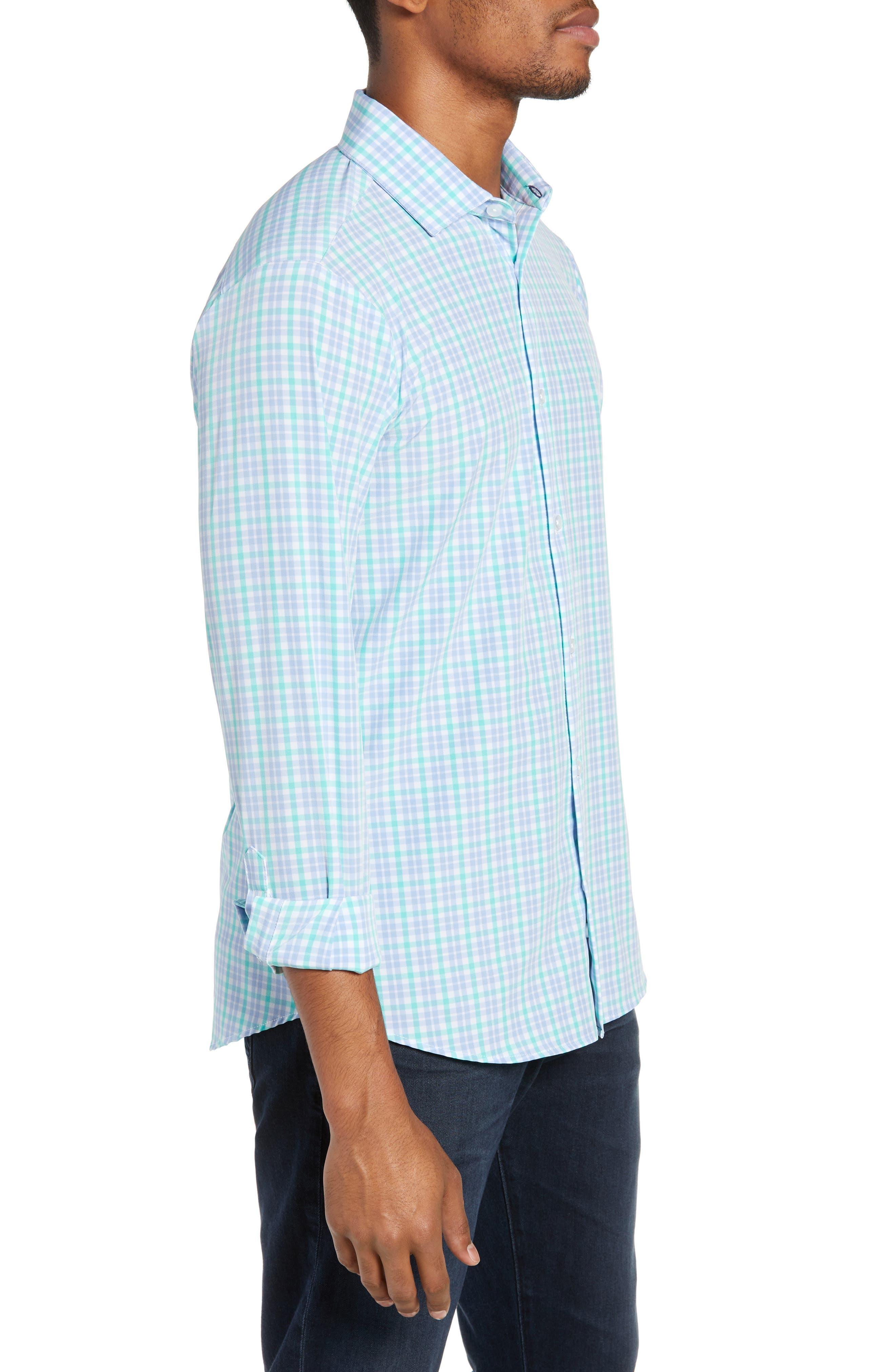 Knoll Regular Fit Plaid Performance Sport Shirt,                             Alternate thumbnail 4, color,                             GREEN