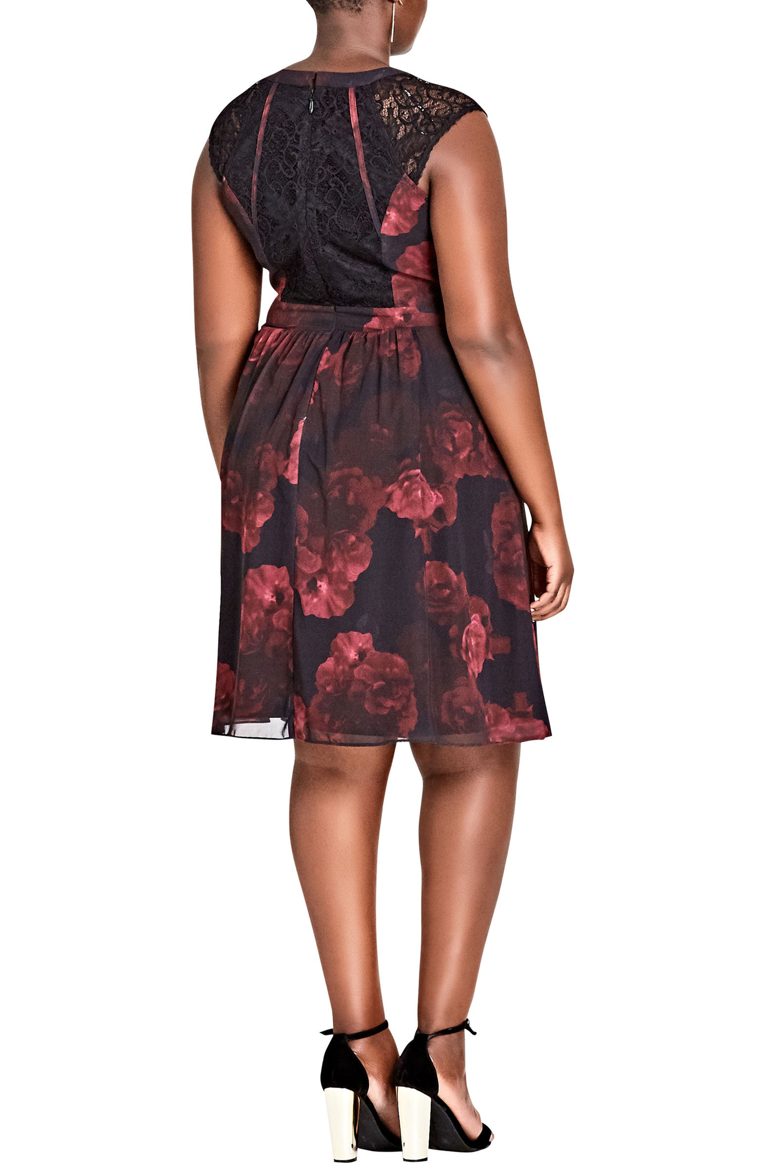 Crimson Rose Fit & Flare Dress,                             Alternate thumbnail 2, color,                             001
