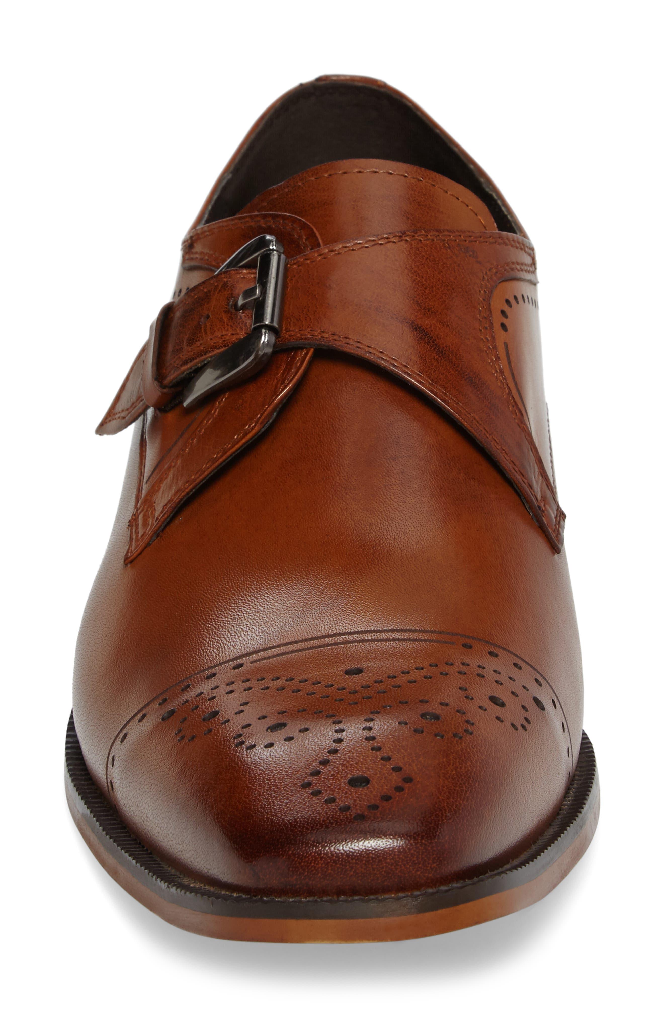 Kimball Monk Strap Shoe,                             Alternate thumbnail 4, color,                             SADDLE TAN LEATHER