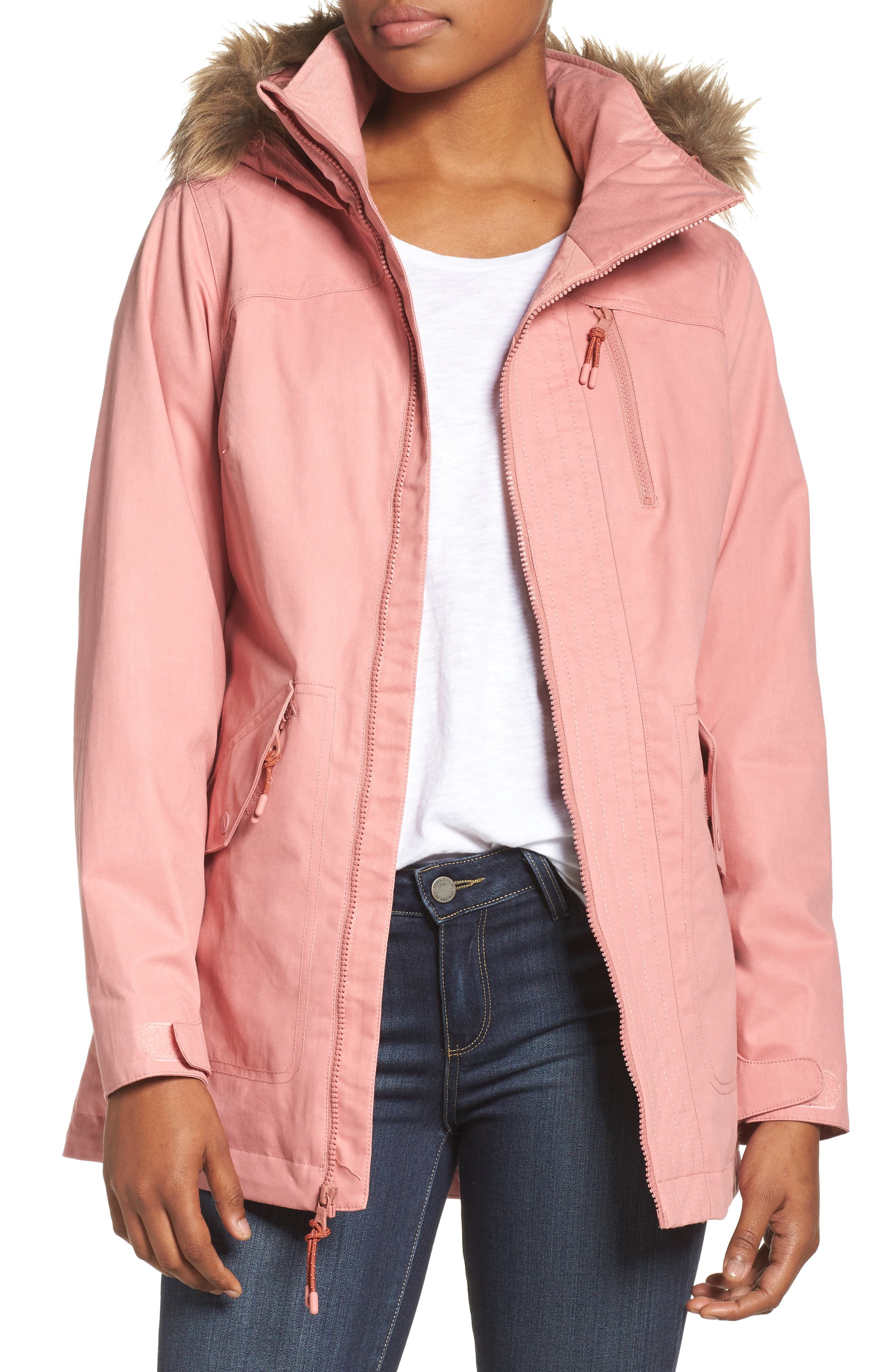 Hazel Waterproof Hooded Jacket with Removable Faux Fur Trim,                             Main thumbnail 1, color,                             DUSTY ROSE WAX