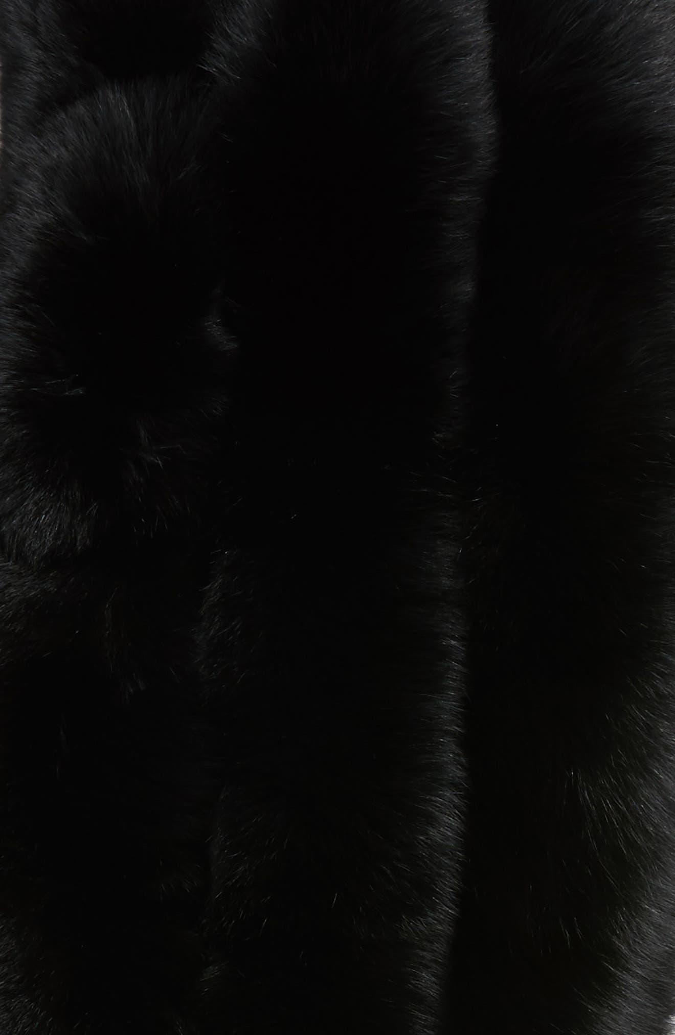 Faux Fox Fur Stole,                             Alternate thumbnail 4, color,                             001
