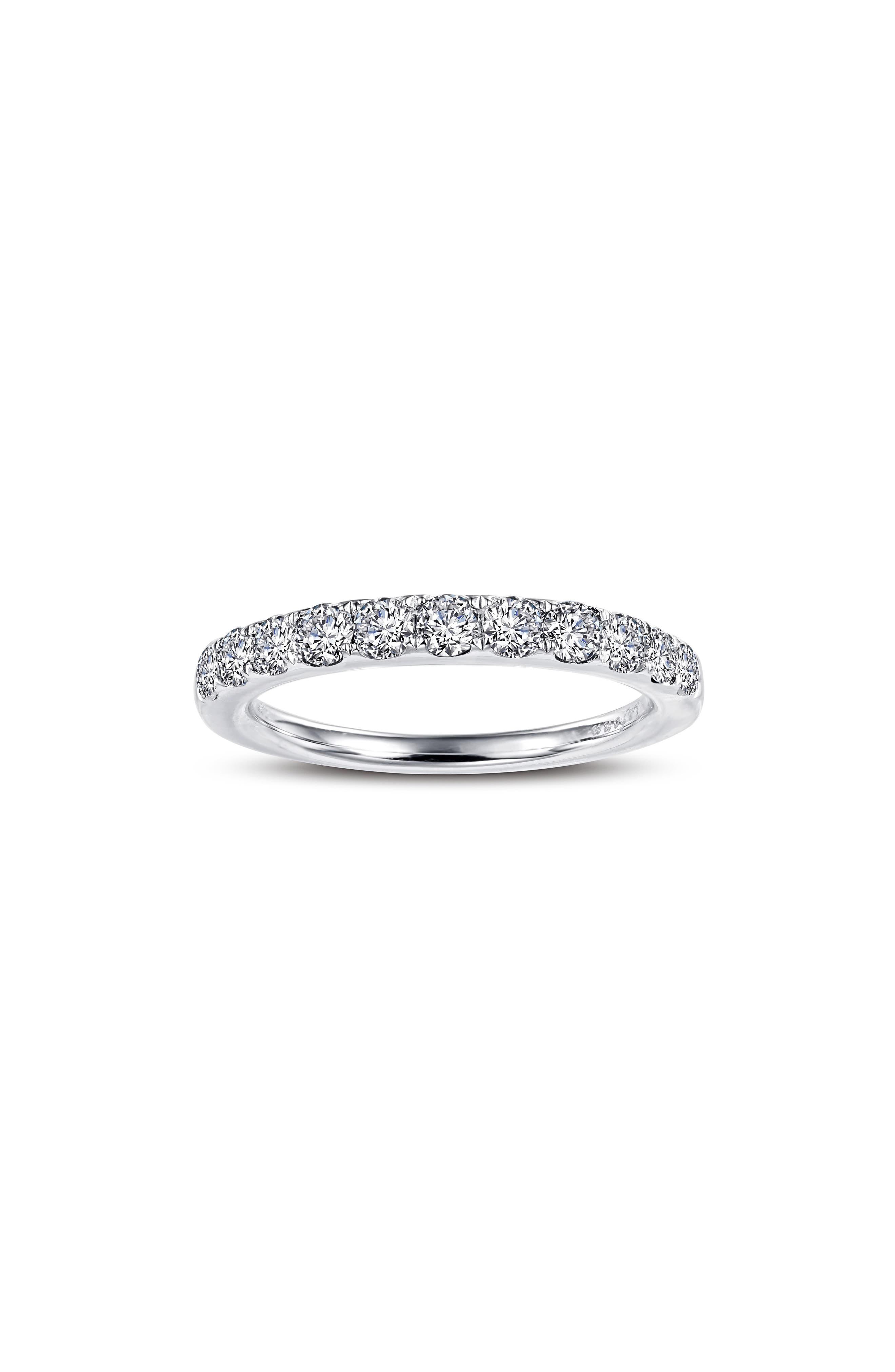 Simulated Diamond Birthstone Band Ring,                             Main thumbnail 1, color,                             APRIL - CLEAR/ SILVER
