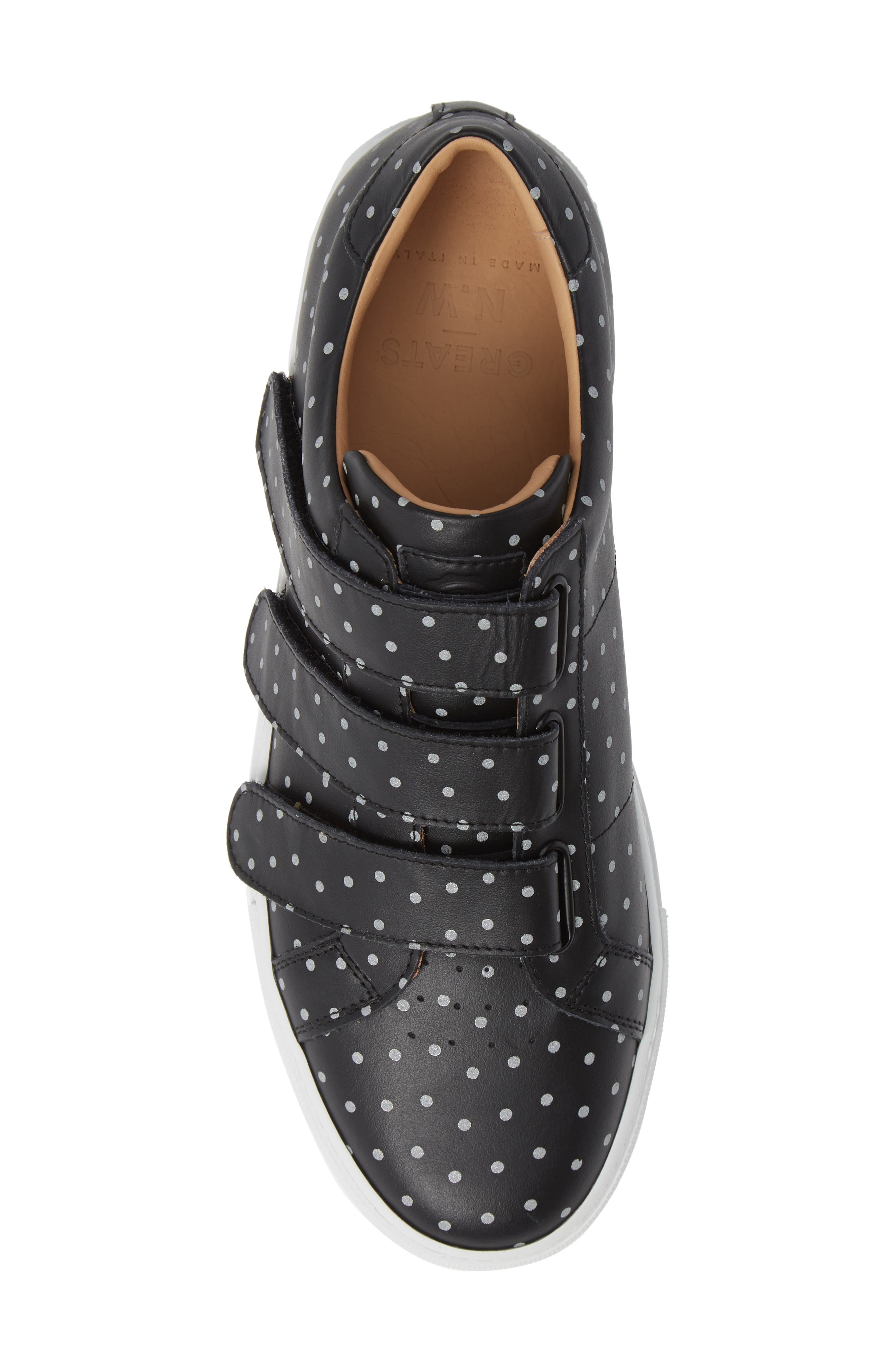 Nick Wooster x GREATS Royale Low Top Sneaker,                             Alternate thumbnail 5, color,                             BLACK LEATHER 3M