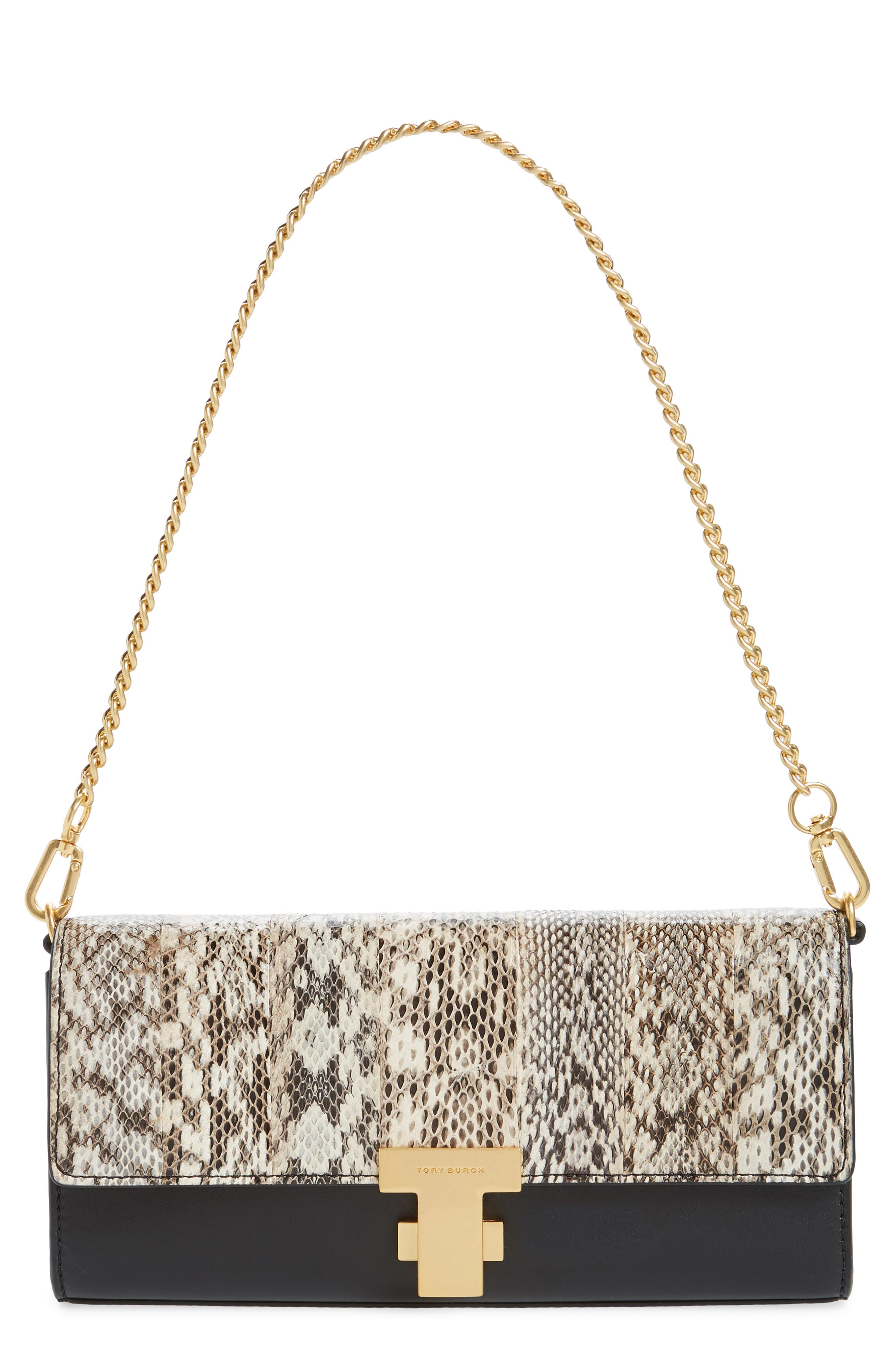 TORY BURCH Juliette Exotic Genuine Snakeskin & Leather Clutch, Main, color, NATURAL / BLACK