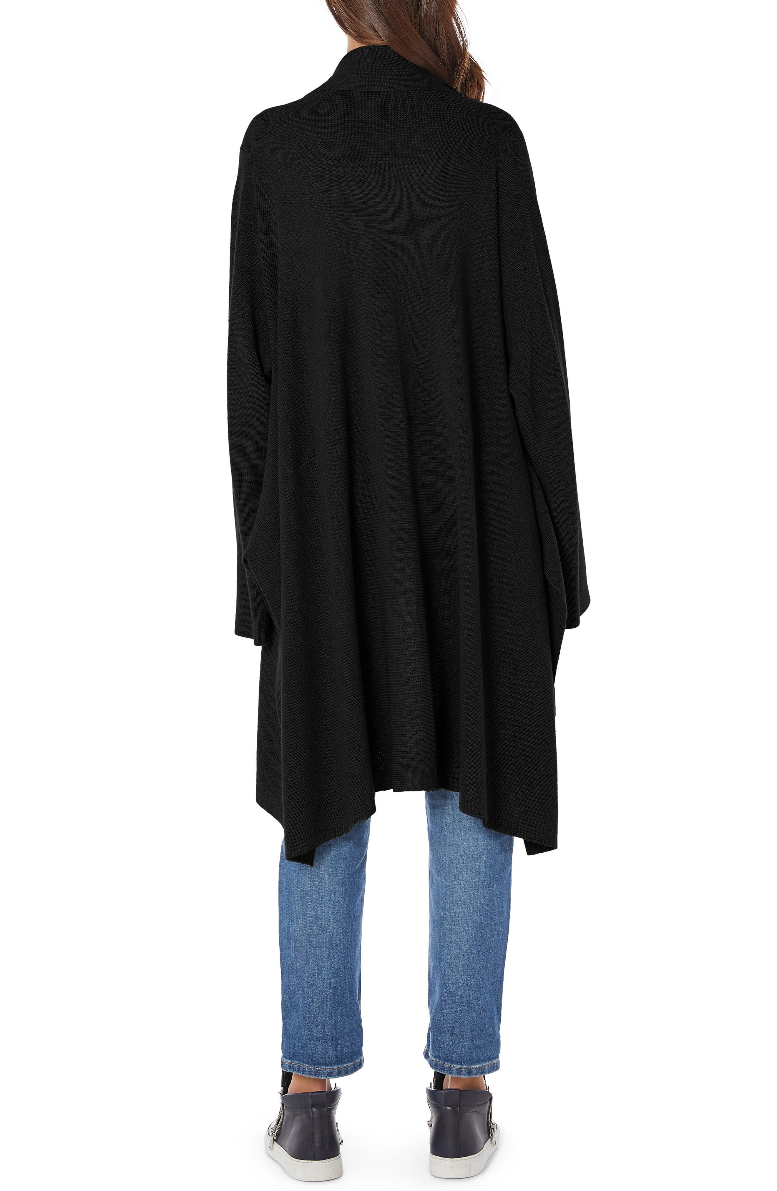 Shawl Collar Cashmere Blend Cardigan,                             Alternate thumbnail 2, color,                             BLACK