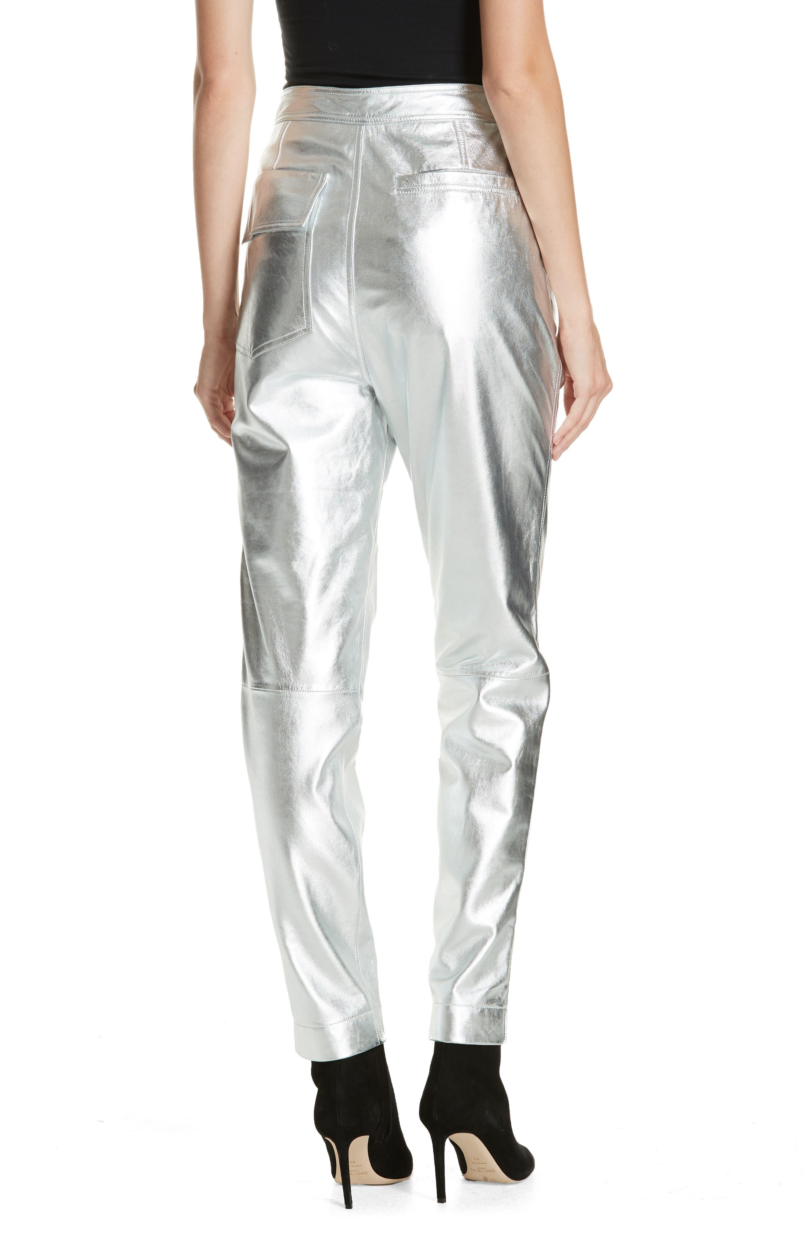 Leather Pants,                             Alternate thumbnail 2, color,                             SILVER