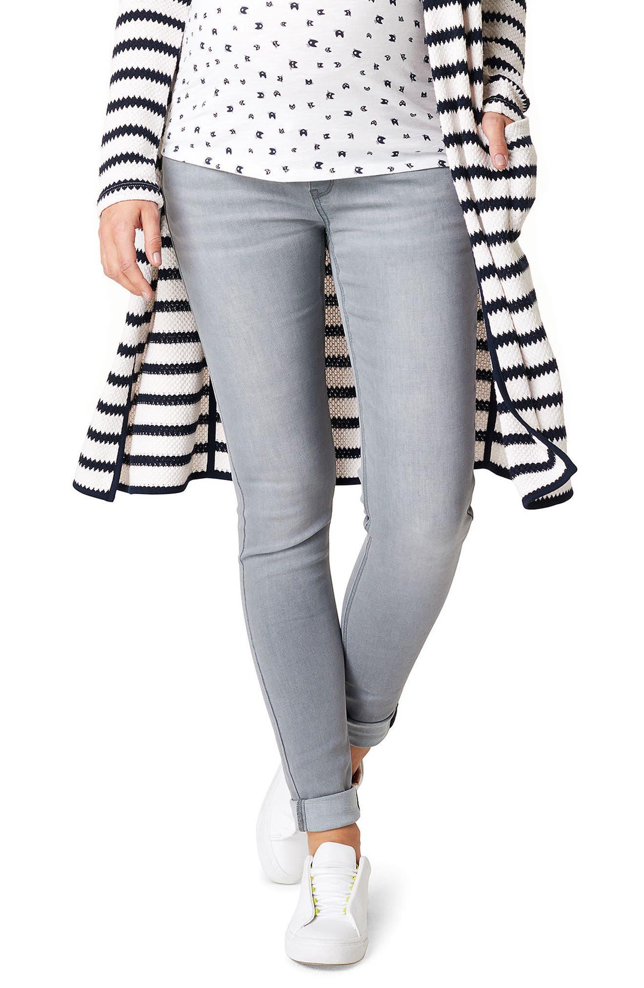Iva Skinny Maternity Jeans,                             Main thumbnail 1, color,                             GREY