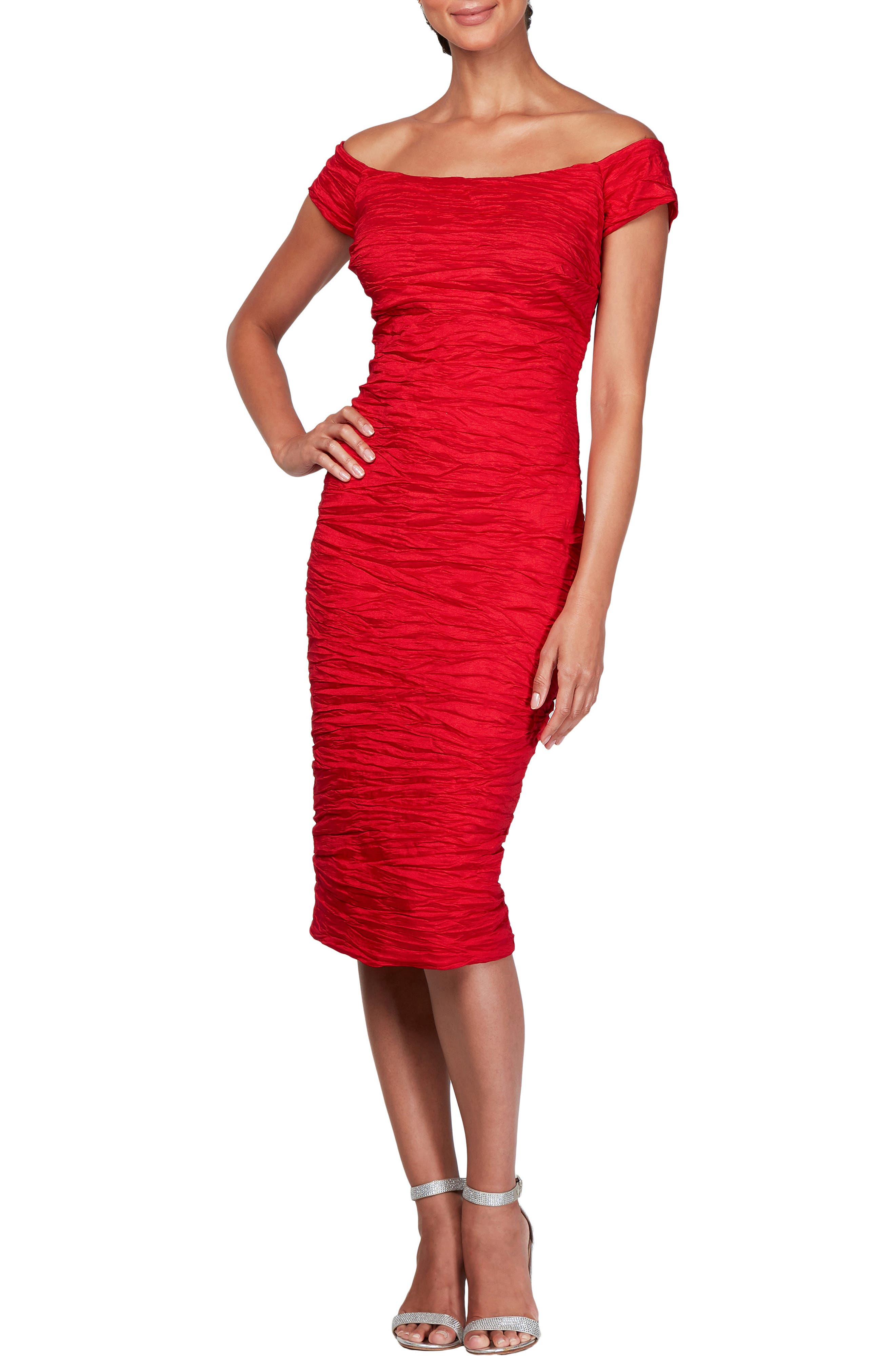 Alex Evenings Stretch Taffeta Midi Cocktail Dress, Red
