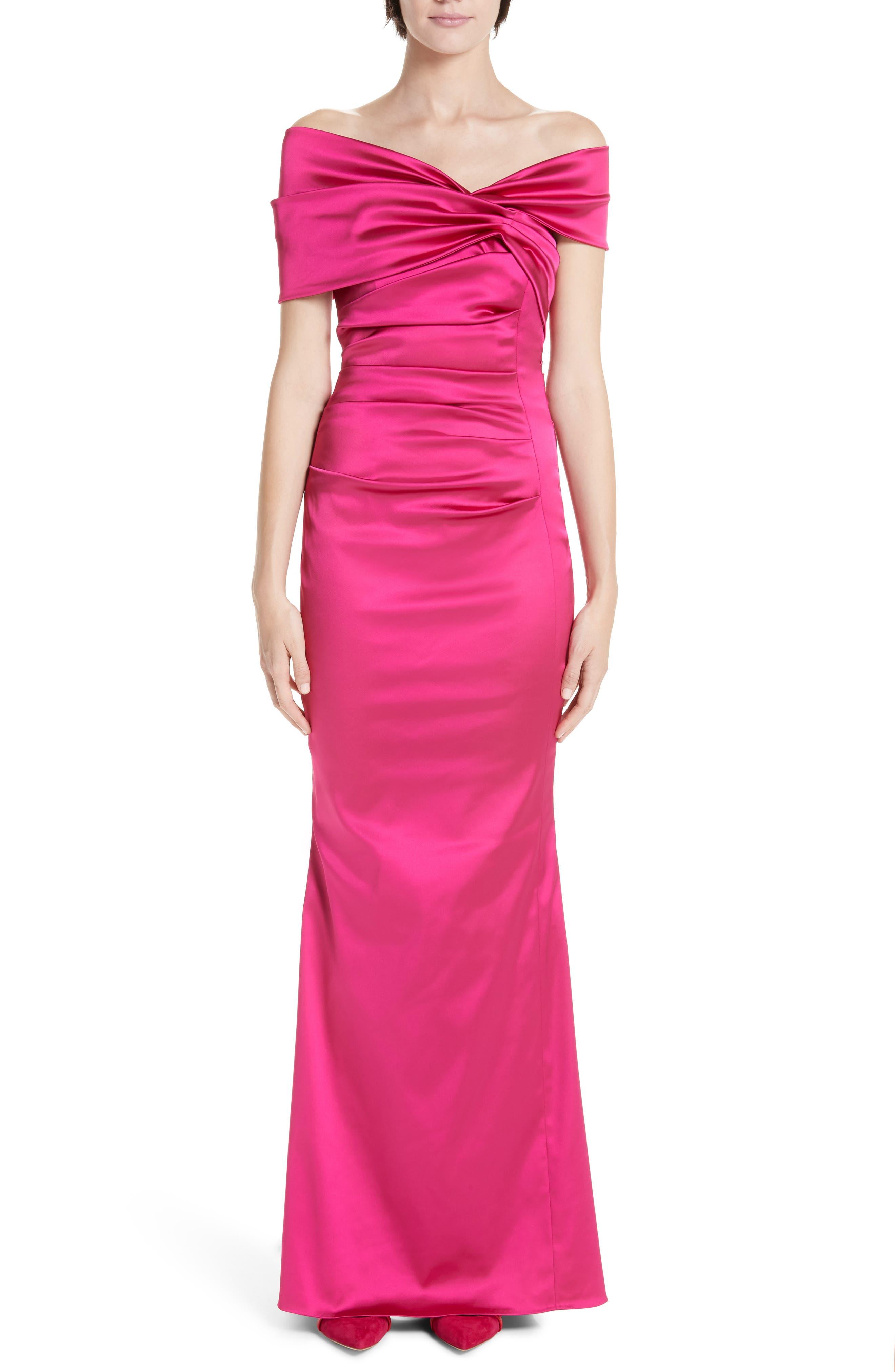 Talbot Runhof Off The Shoulder Duchess Satin Gown, Pink