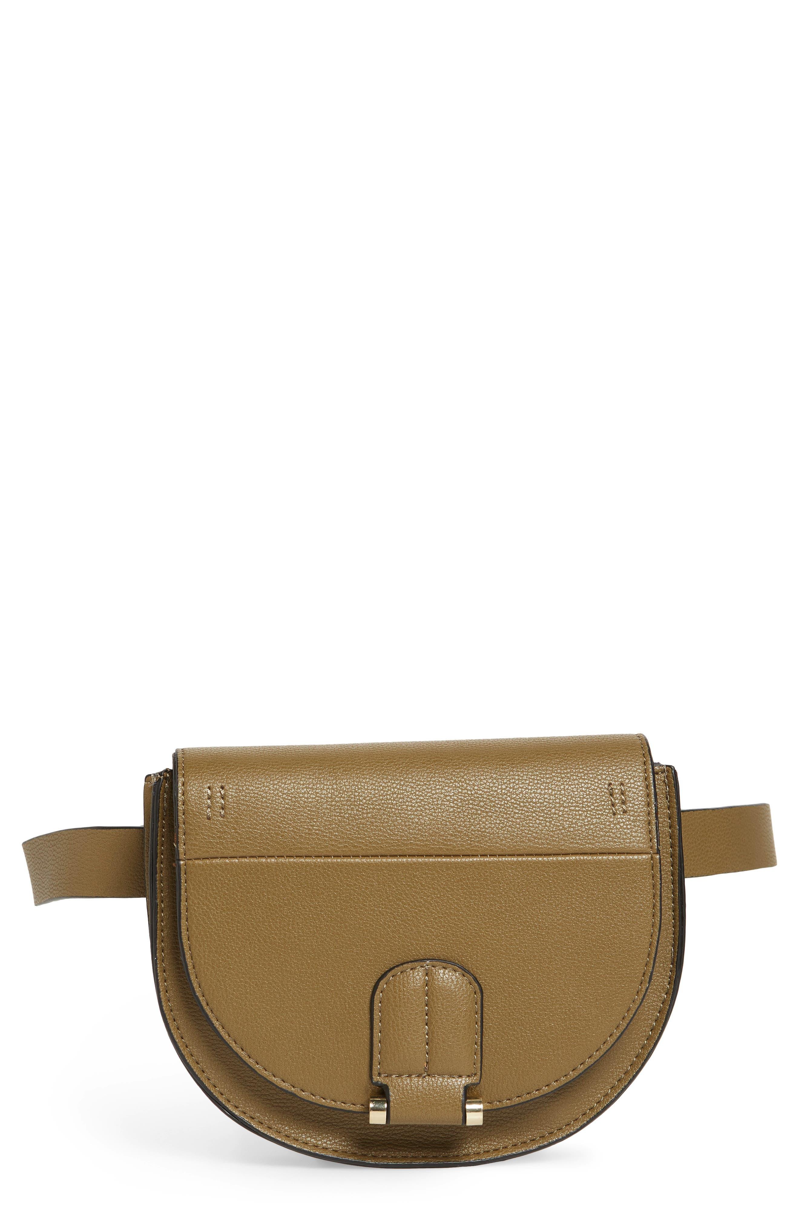 Alissa Faux Leather Belt Bag,                             Main thumbnail 1, color,                             OLIVE
