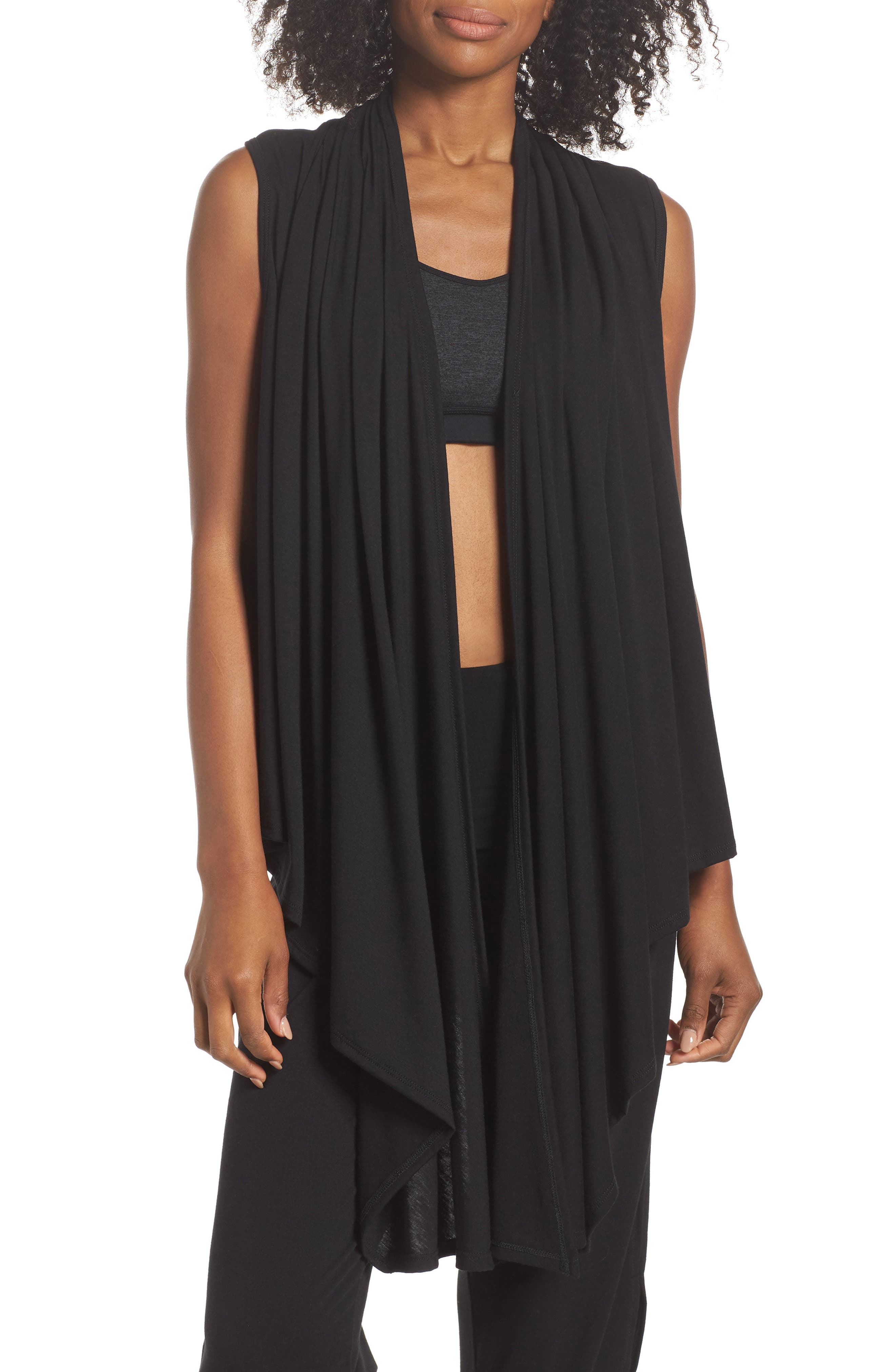 Sleeveless Cardigan,                         Main,                         color, BLACK