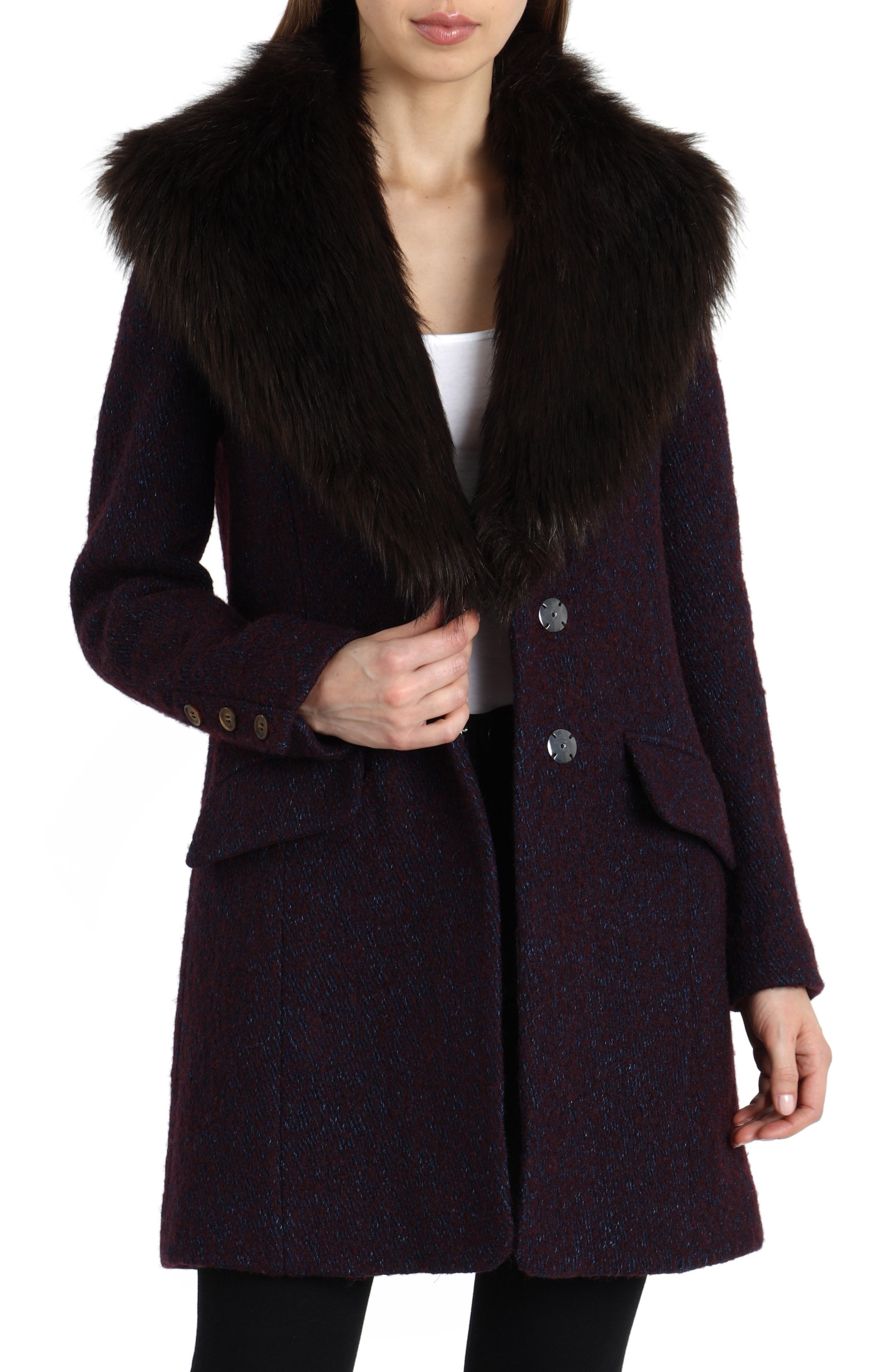 'Holly' Faux Fur Collar Bouclé Coat,                             Main thumbnail 1, color,                             BURGUNDY/ NAVY