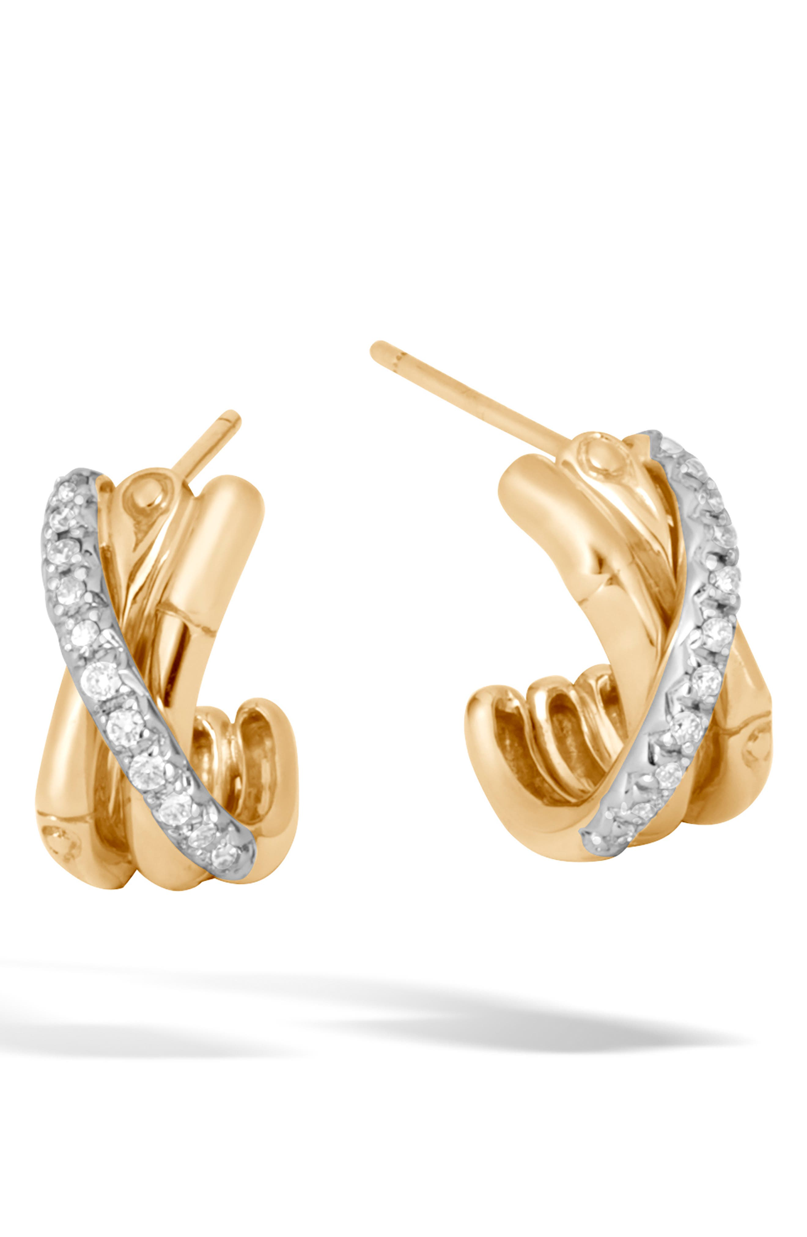JOHN HARDY,                             Bamboo Gold & Diamond Small J-Hoop Earrings,                             Main thumbnail 1, color,                             GOLD/ DIAMOND